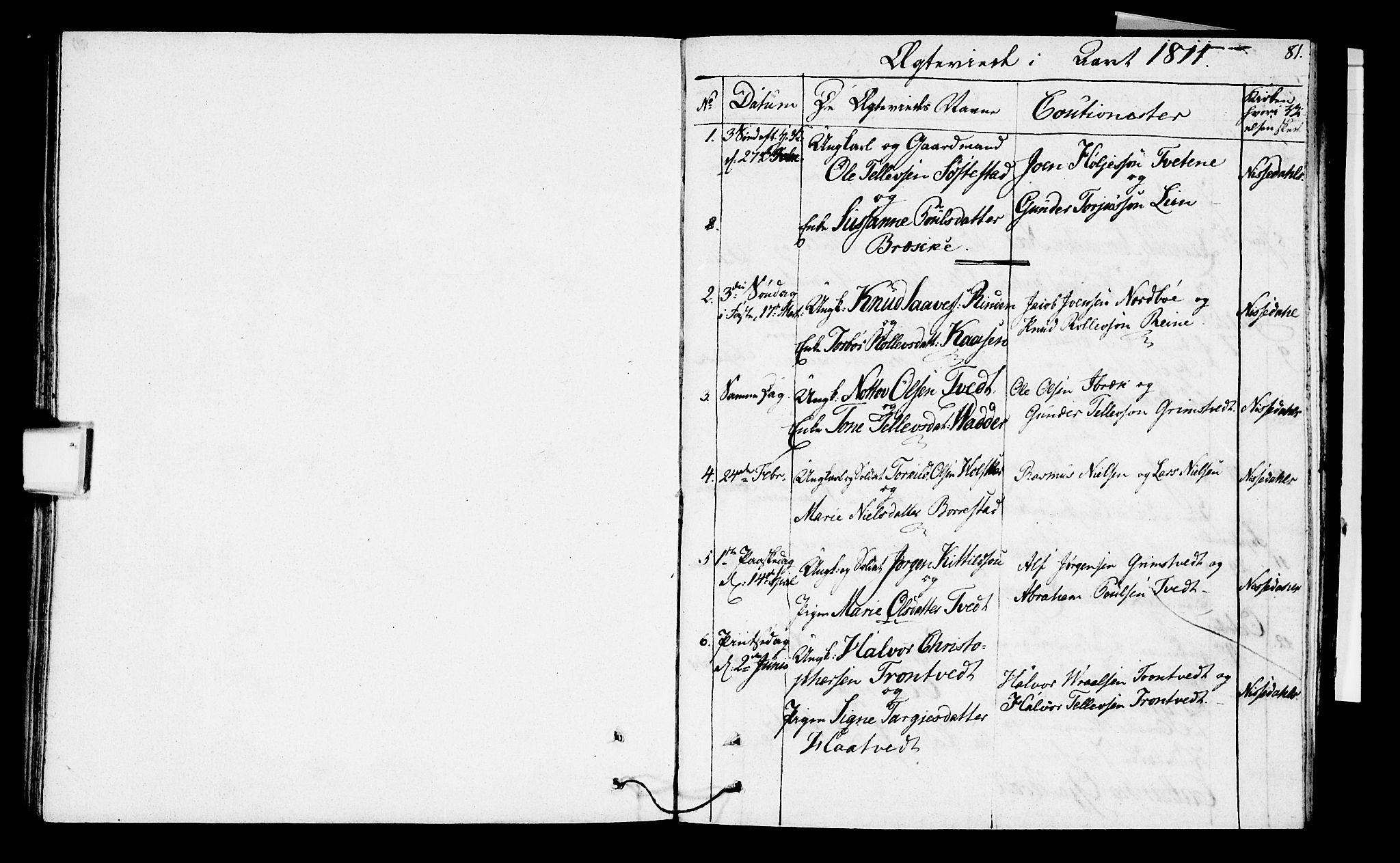 SAKO, Nissedal kirkebøker, F/Fa/L0001: Ministerialbok nr. I 1, 1811-1814, s. 81