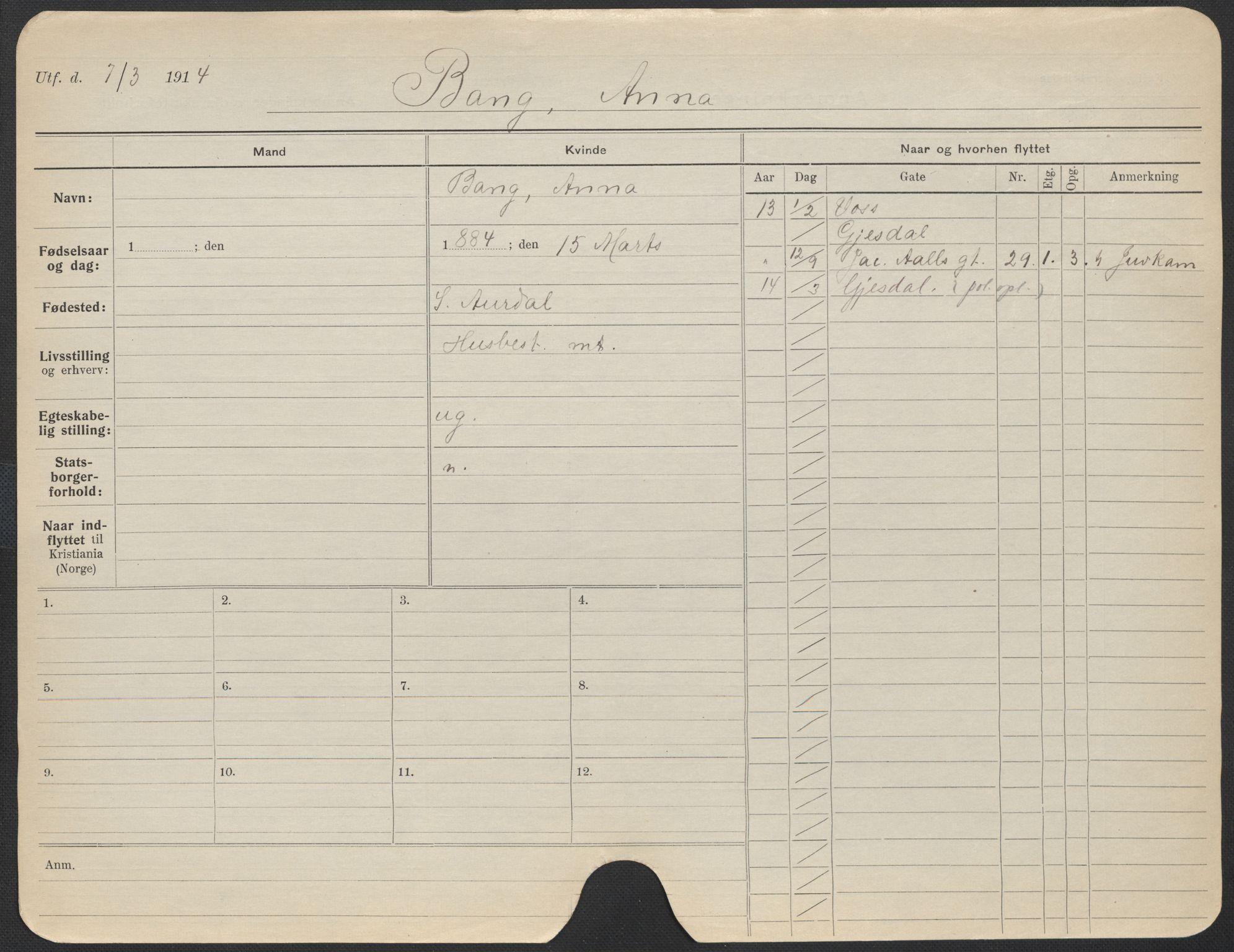 SAO, Oslo folkeregister, Registerkort, F/Fa/Fac/L0012: Kvinner, 1906-1914, s. 1251a