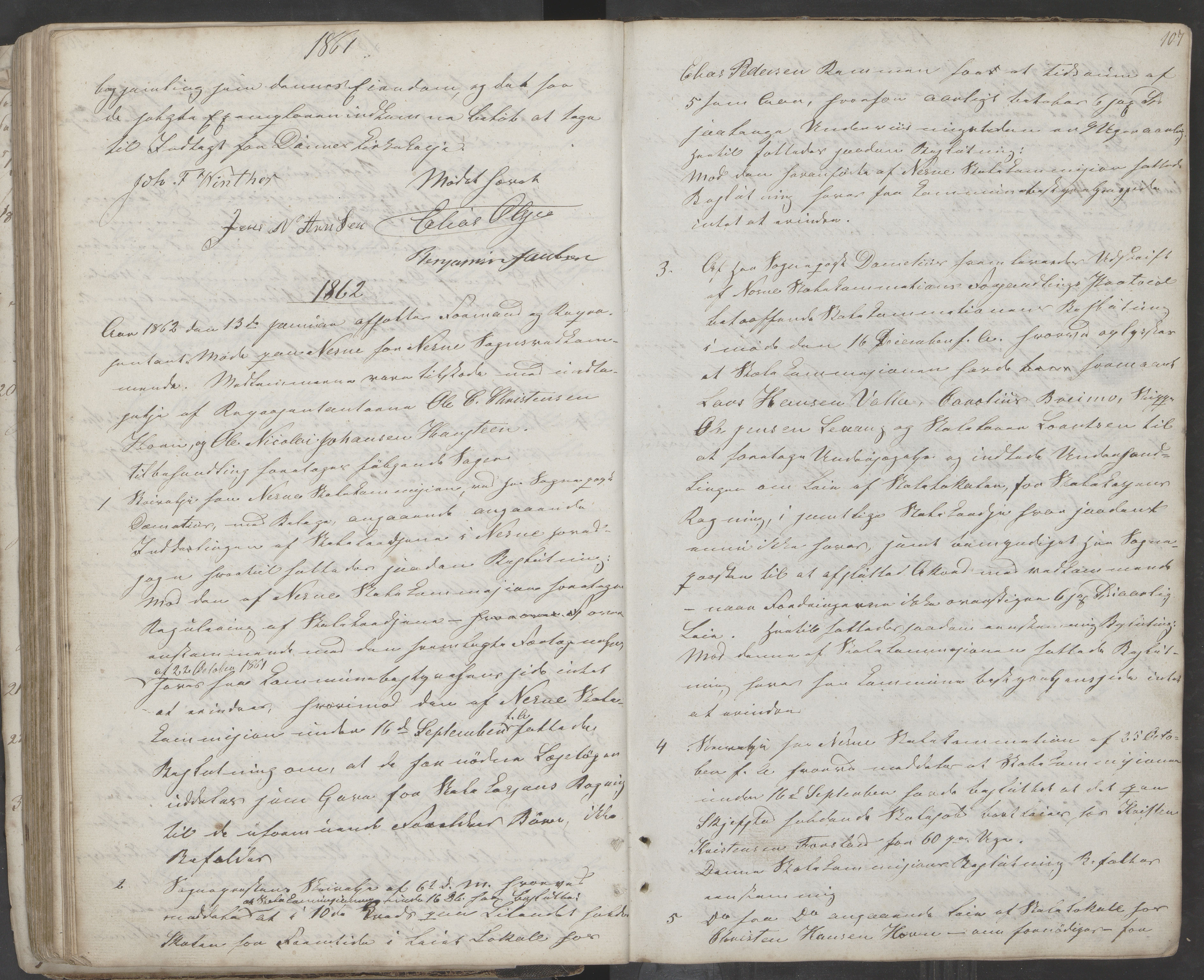 AIN, Nesna kommune. Formannskapet, 100/L0001: Møtebok, 1838-1873, s. 107