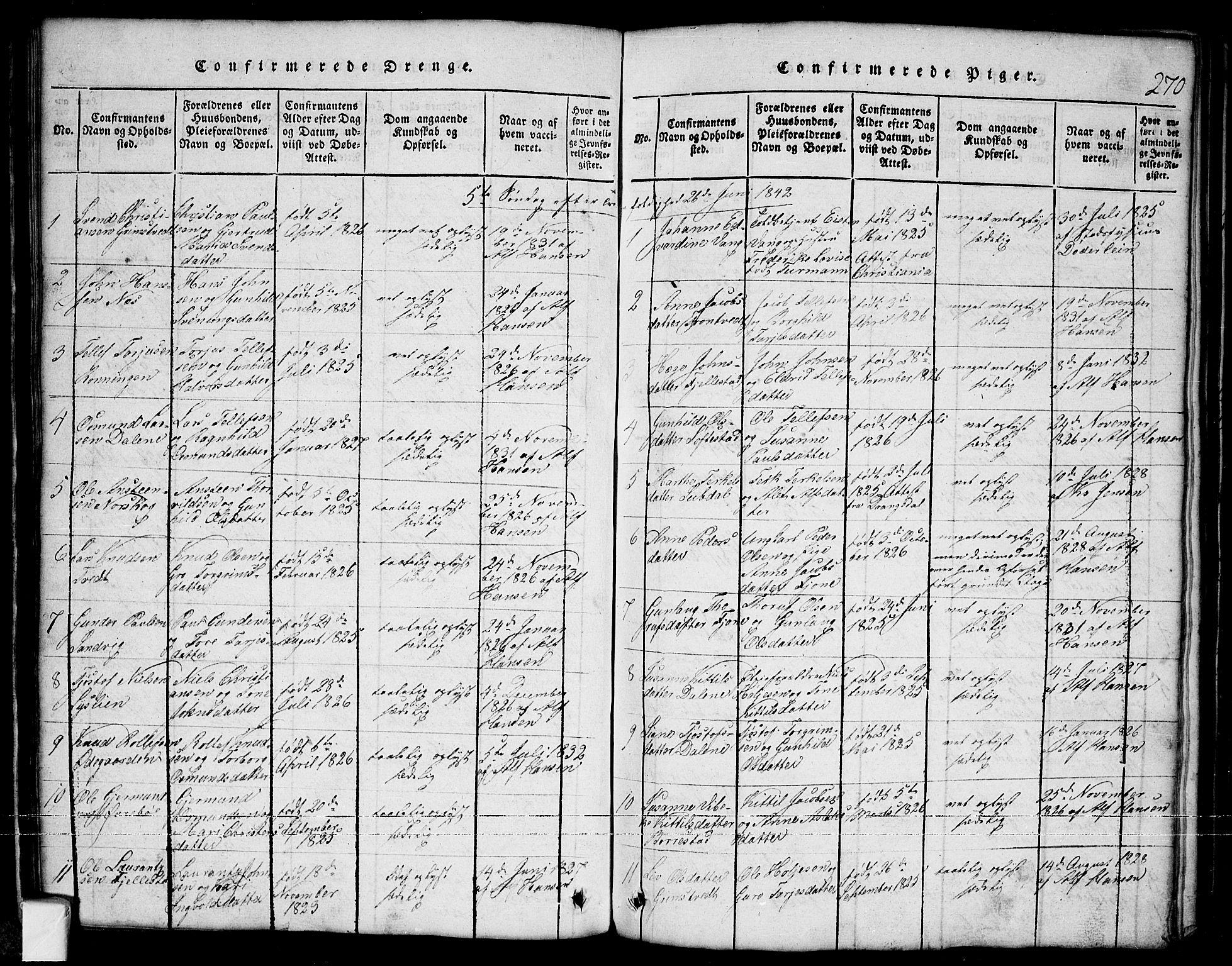 SAKO, Nissedal kirkebøker, G/Ga/L0001: Klokkerbok nr. I 1, 1814-1860, s. 270
