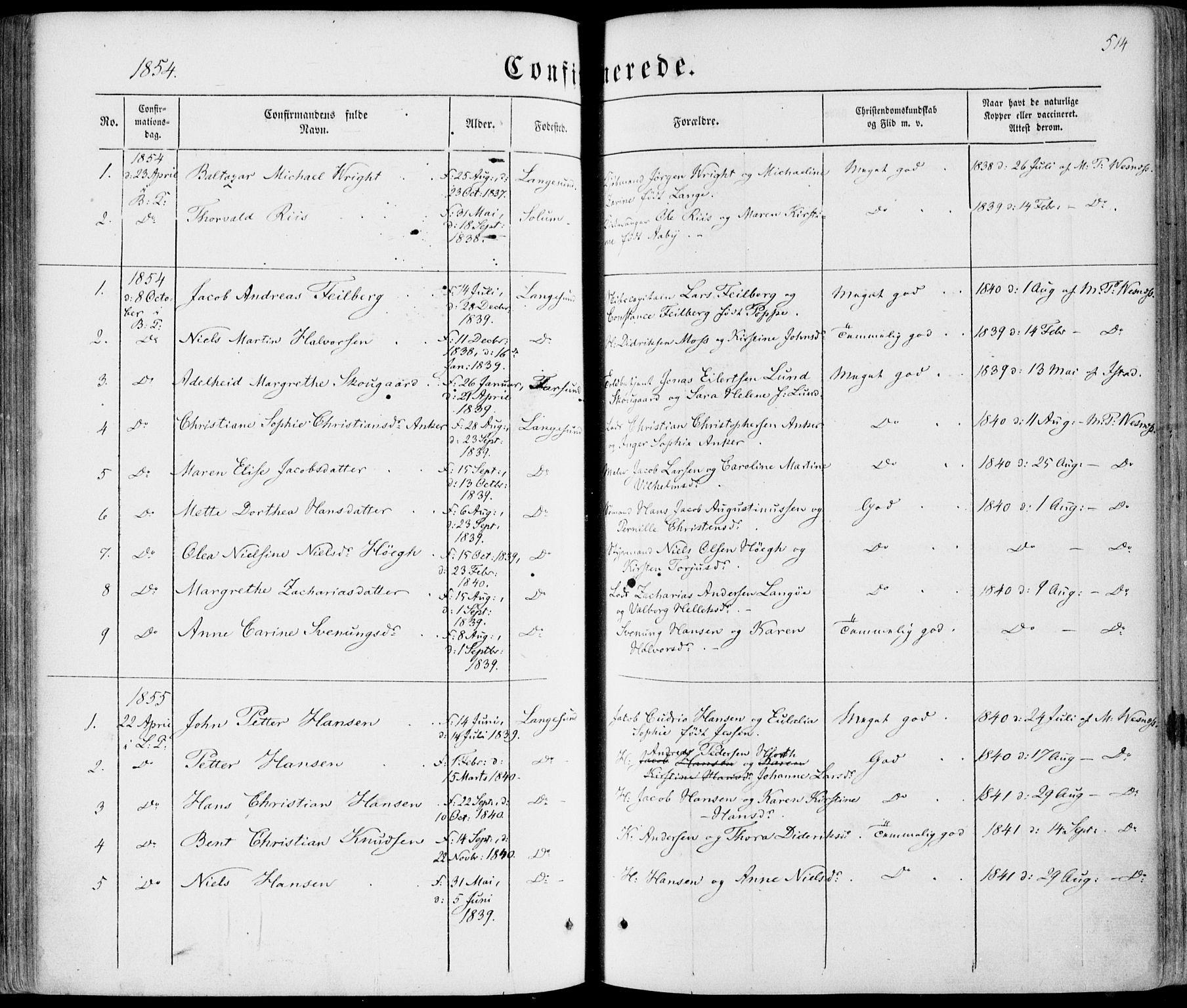 SAKO, Bamble kirkebøker, F/Fa/L0005: Ministerialbok nr. I 5, 1854-1869, s. 514