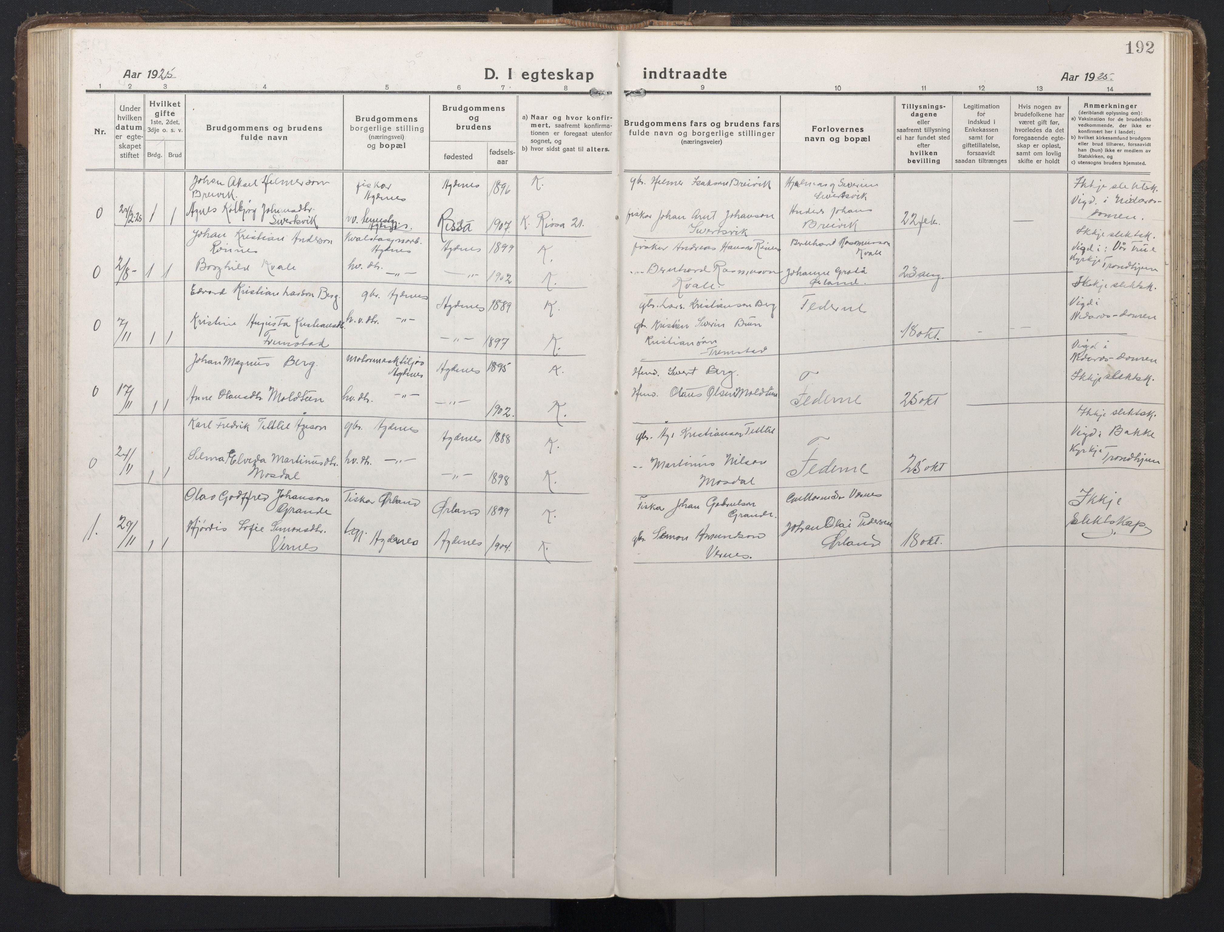 SAT, Ministerialprotokoller, klokkerbøker og fødselsregistre - Sør-Trøndelag, 662/L0758: Klokkerbok nr. 662C03, 1918-1948, s. 192