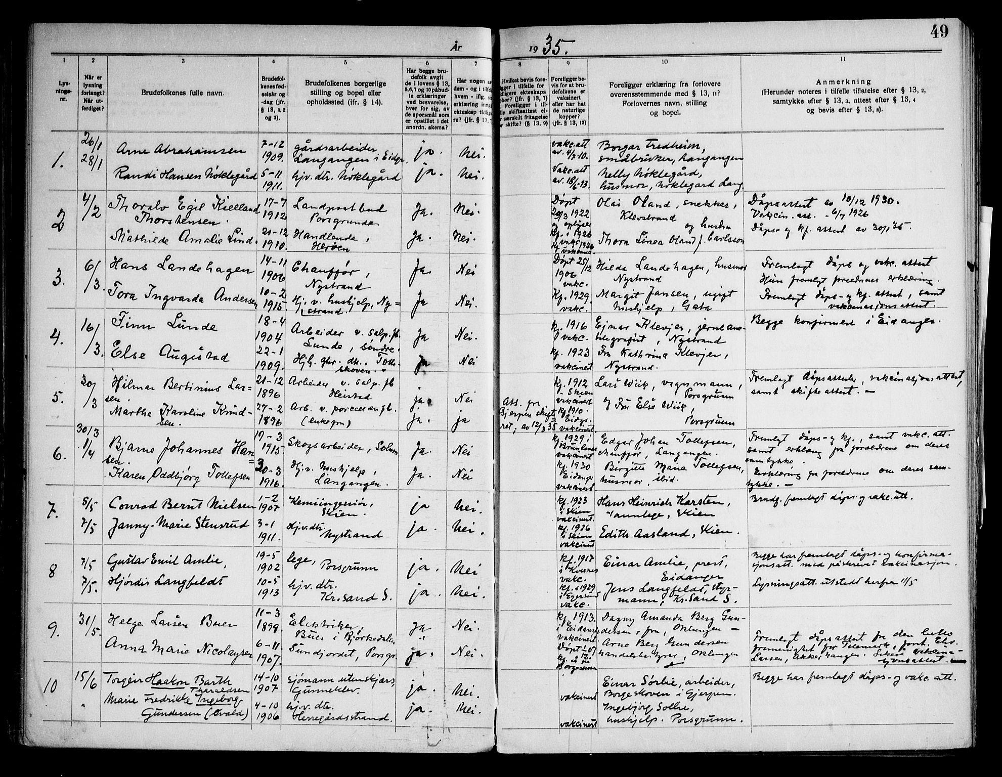 SAKO, Eidanger kirkebøker, H/Ha/L0003: Lysningsprotokoll nr. 3, 1919-1948, s. 49