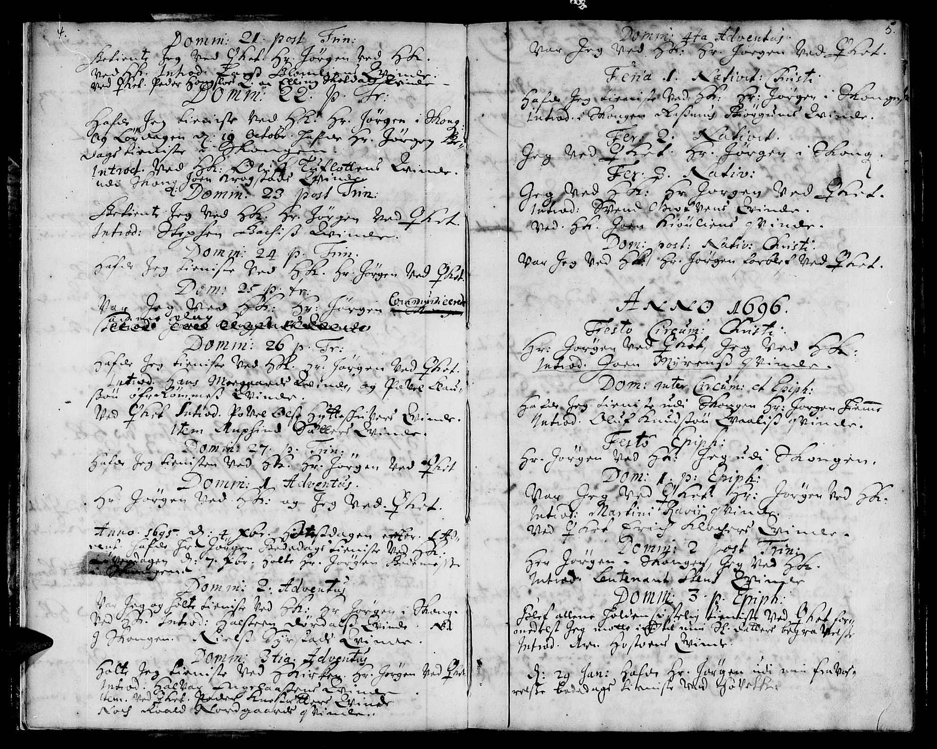 SAT, Ministerialprotokoller, klokkerbøker og fødselsregistre - Sør-Trøndelag, 668/L0801: Ministerialbok nr. 668A01, 1695-1716, s. 4-5