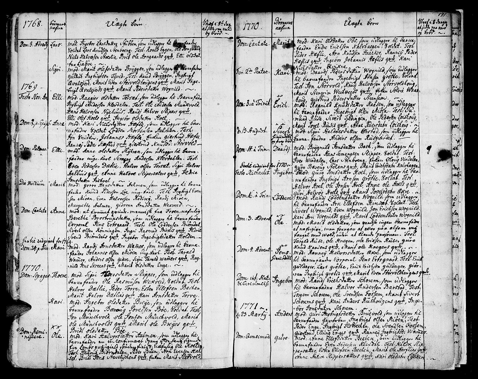 SAT, Ministerialprotokoller, klokkerbøker og fødselsregistre - Sør-Trøndelag, 678/L0891: Ministerialbok nr. 678A01, 1739-1780, s. 191a