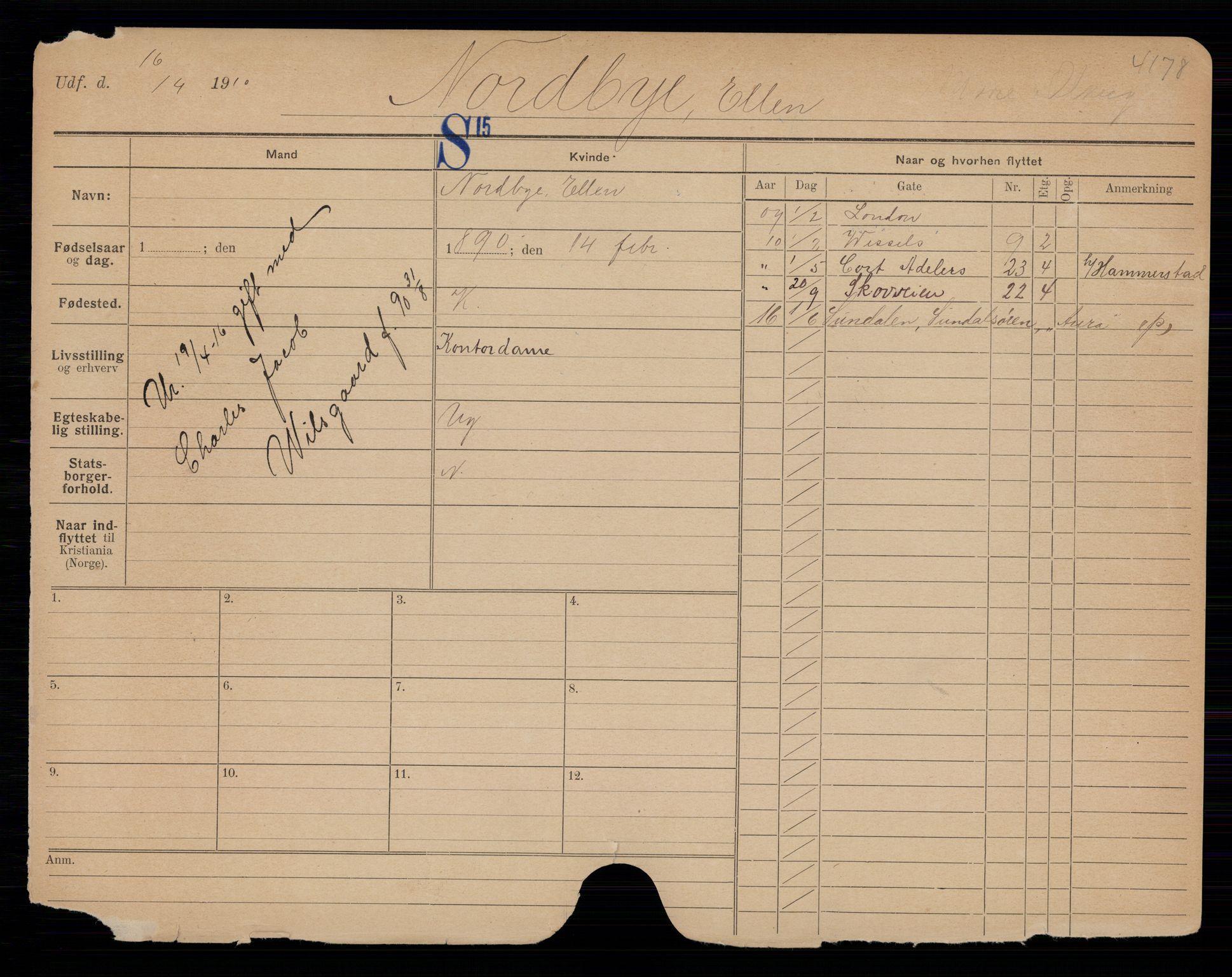 SAO, Oslo folkeregister, Registerkort, K/Kb/L0027: NO - Å, 1916