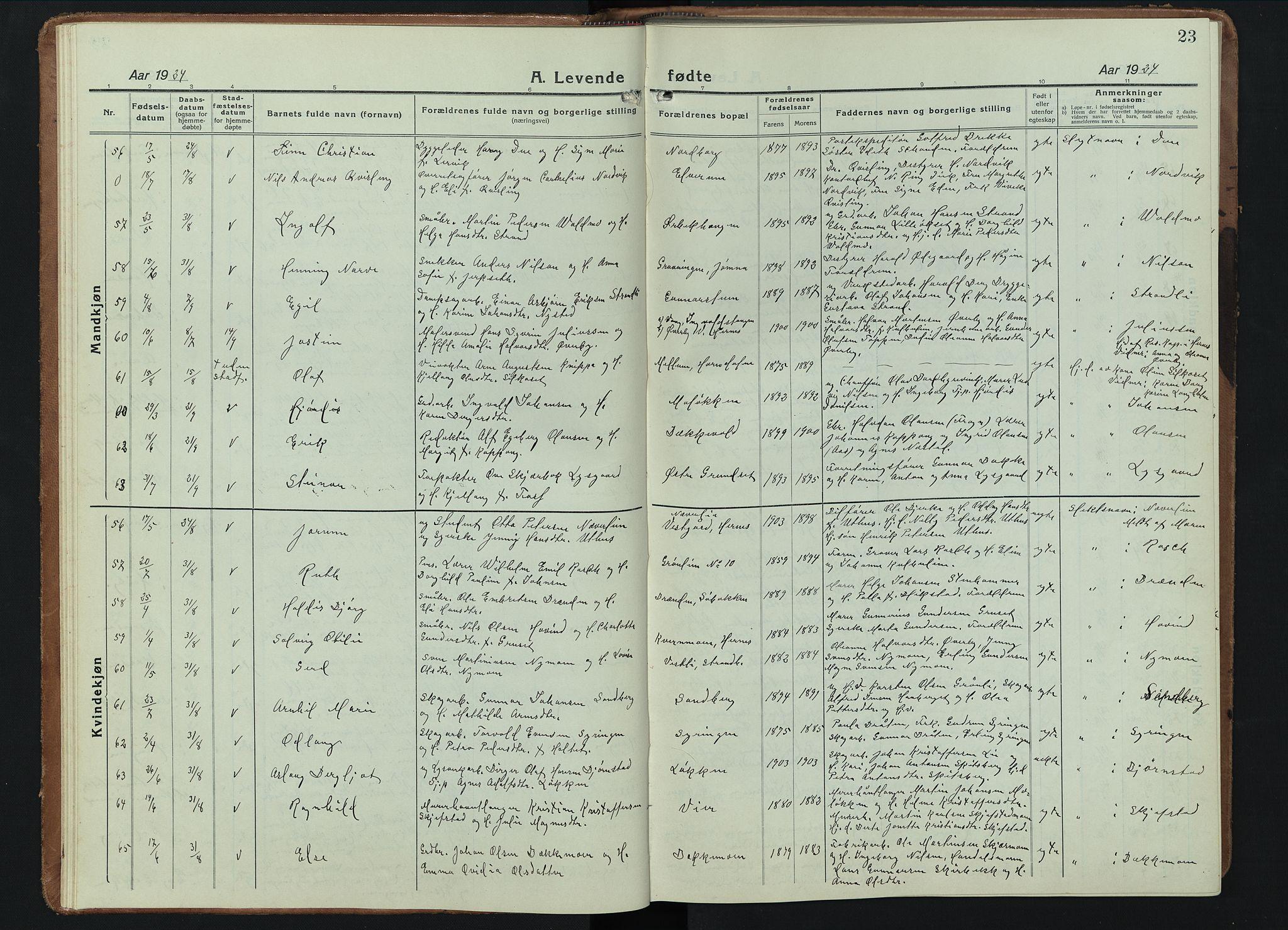 SAH, Elverum prestekontor, H/Ha/Hab/L0015#: Klokkerbok nr. 15, 1922-1945, s. 23