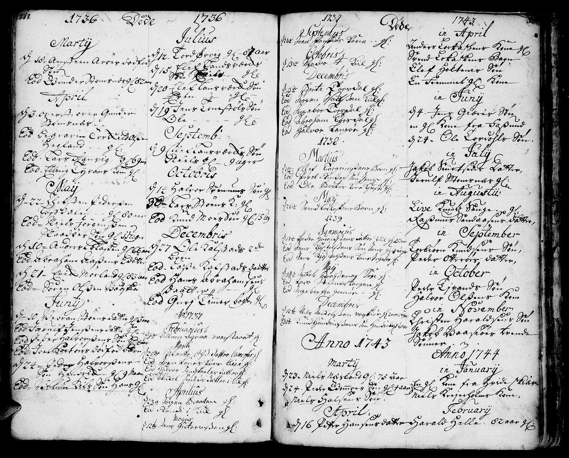 SAKO, Sannidal kirkebøker, F/Fa/L0001: Ministerialbok nr. 1, 1702-1766, s. 318-319
