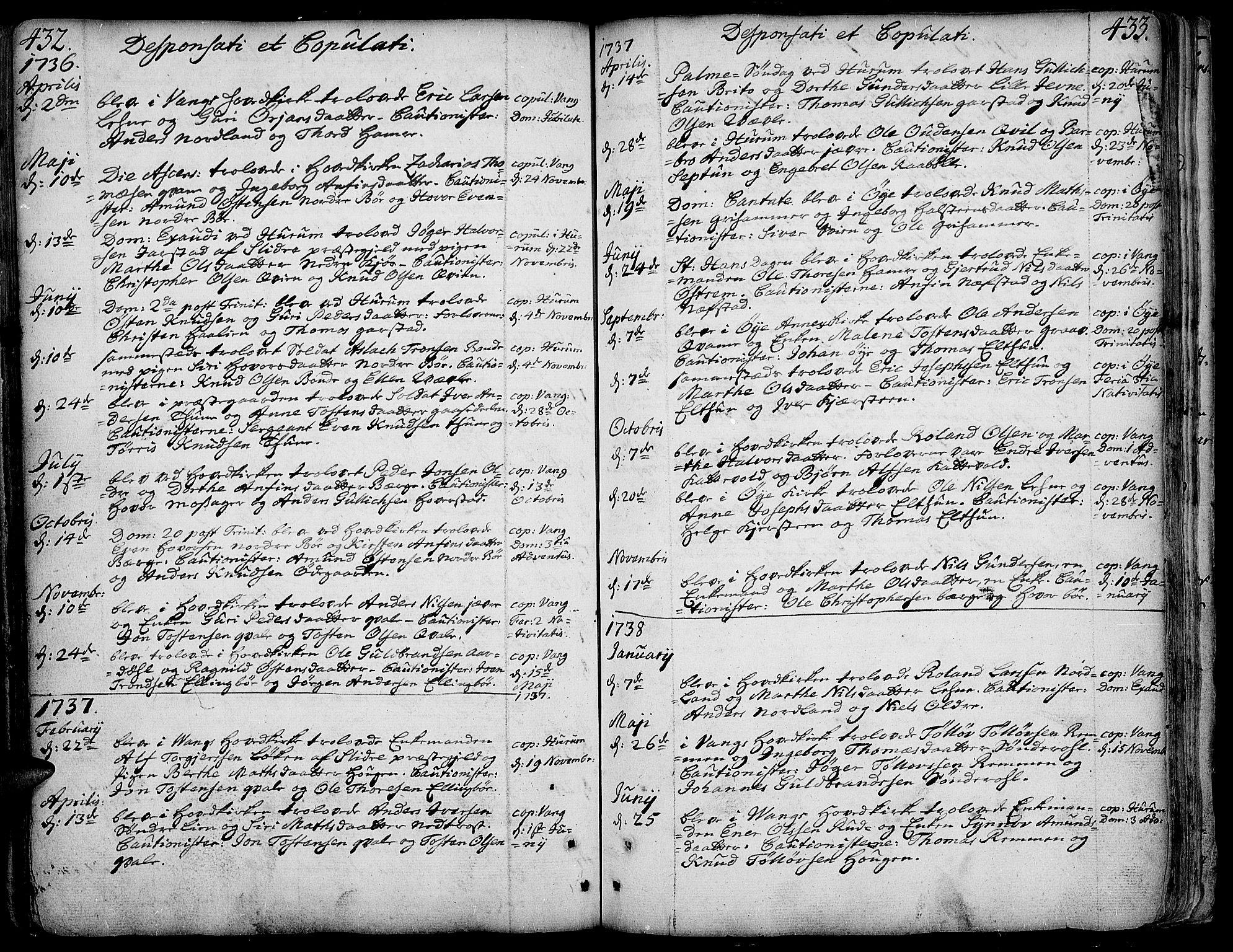 SAH, Vang prestekontor, Valdres, Ministerialbok nr. 1, 1730-1796, s. 432-433