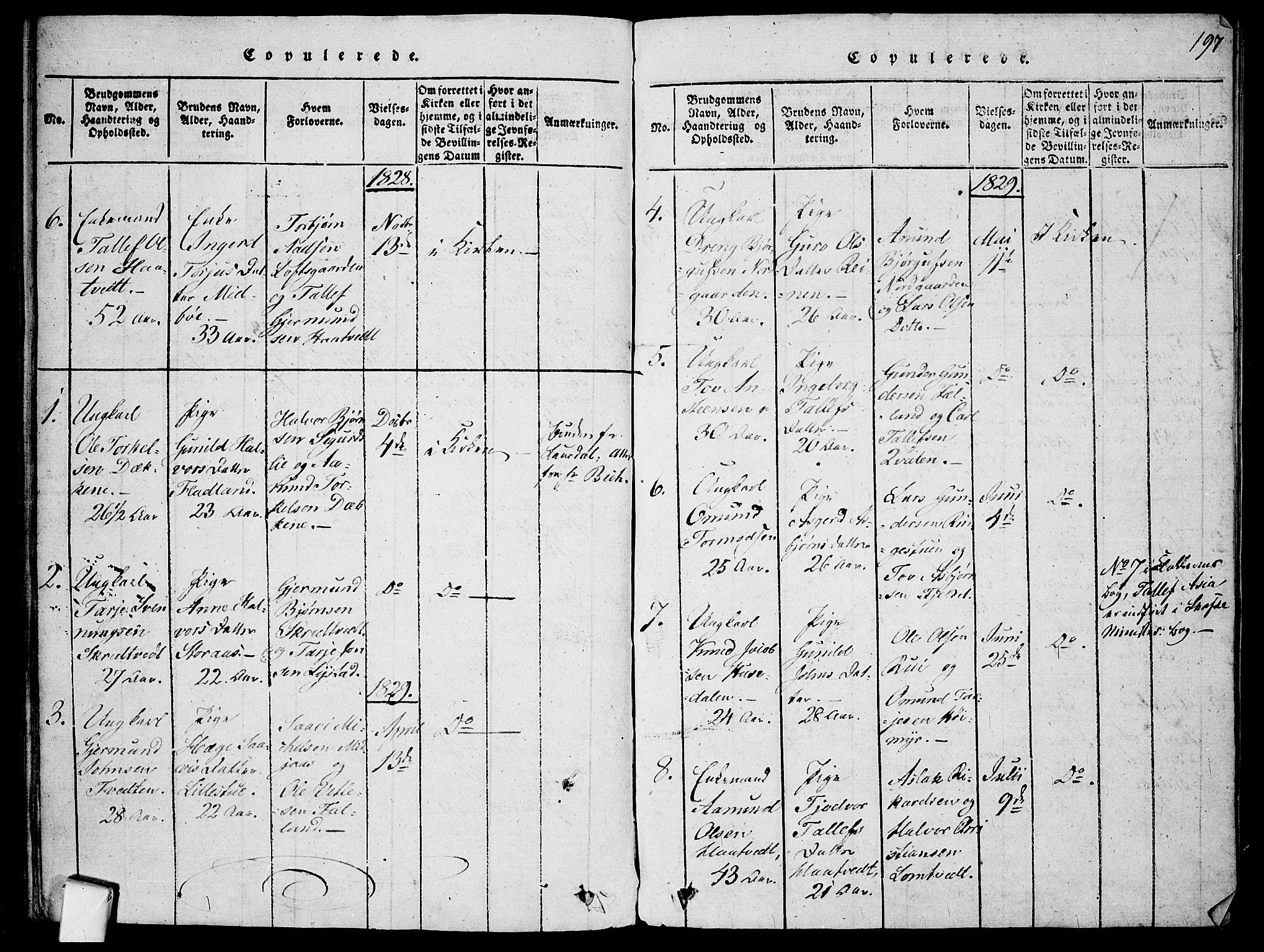 SAKO, Mo kirkebøker, F/Fa/L0004: Ministerialbok nr. I 4, 1814-1844, s. 197
