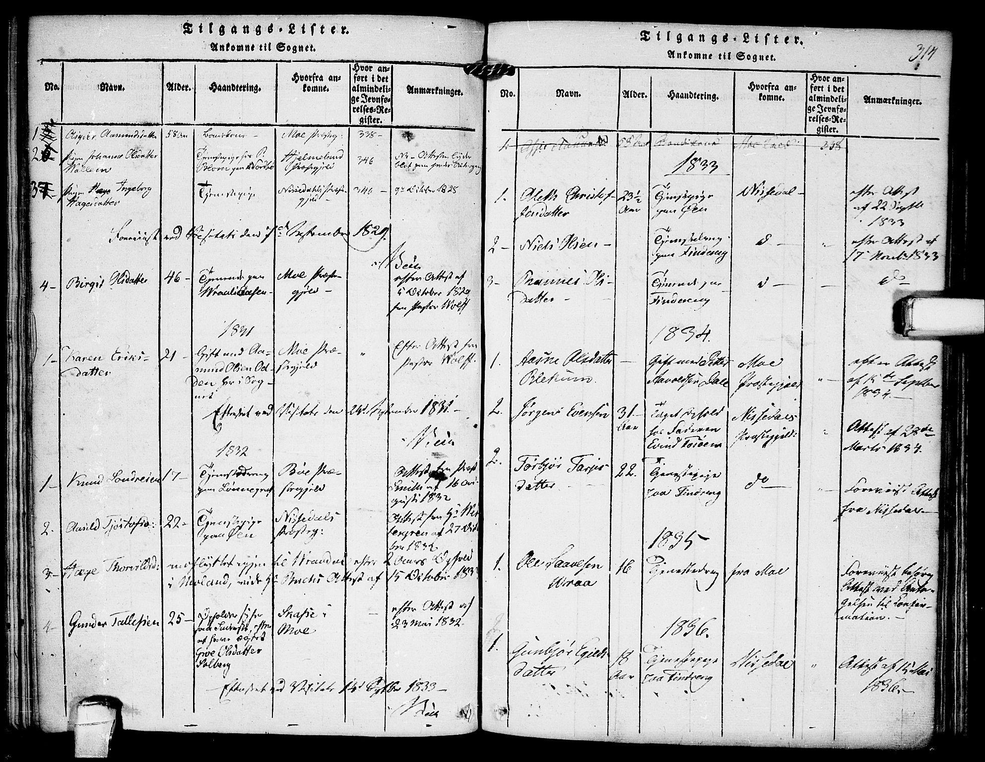 SAKO, Kviteseid kirkebøker, F/Fc/L0001: Ministerialbok nr. III 1, 1815-1836, s. 314