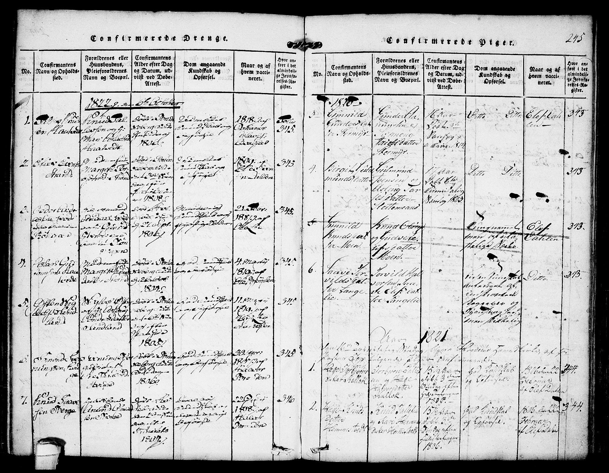 SAKO, Kviteseid kirkebøker, F/Fb/L0001: Ministerialbok nr. II 1, 1815-1836, s. 245