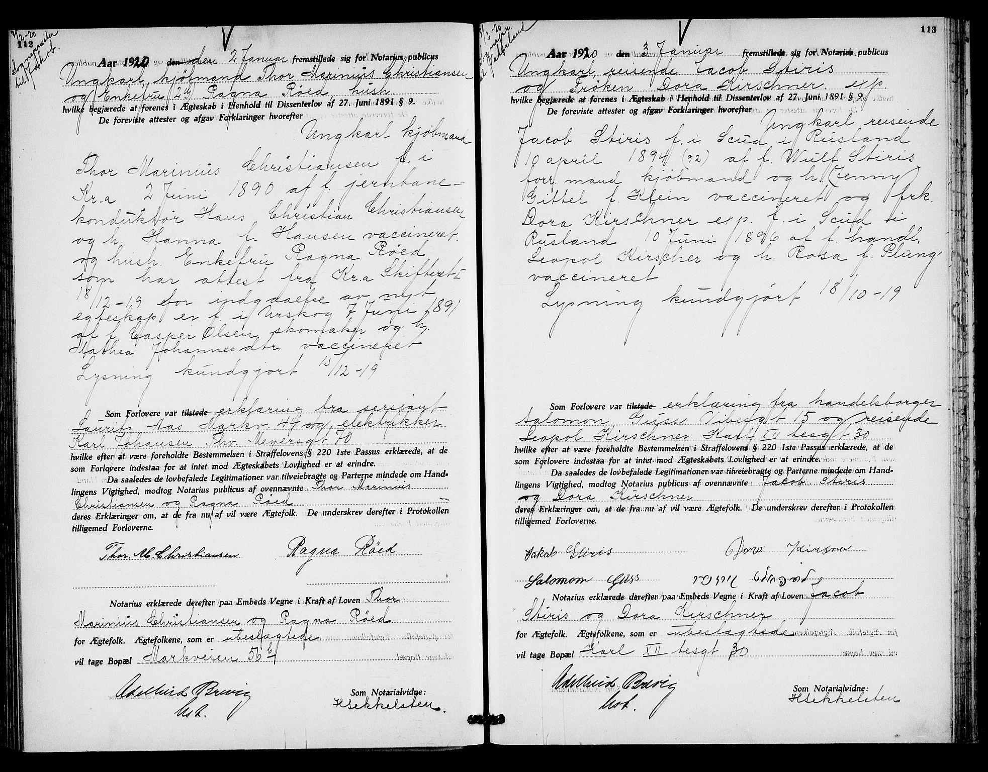 SAO, Oslo byfogd avd. I, L/Lb/Lbb/L0013: Notarialprotokoll, rekke II: Vigsler, 1919-1920, s. 112-113