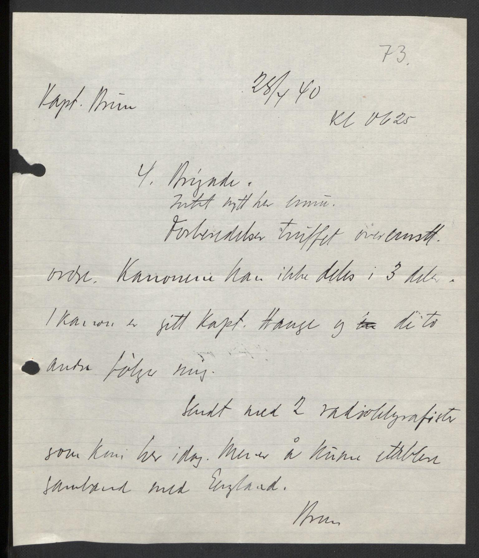 RA, Forsvaret, Forsvarets krigshistoriske avdeling, Y/Yb/L0104: II-C-11-430  -  4. Divisjon., 1940, s. 172