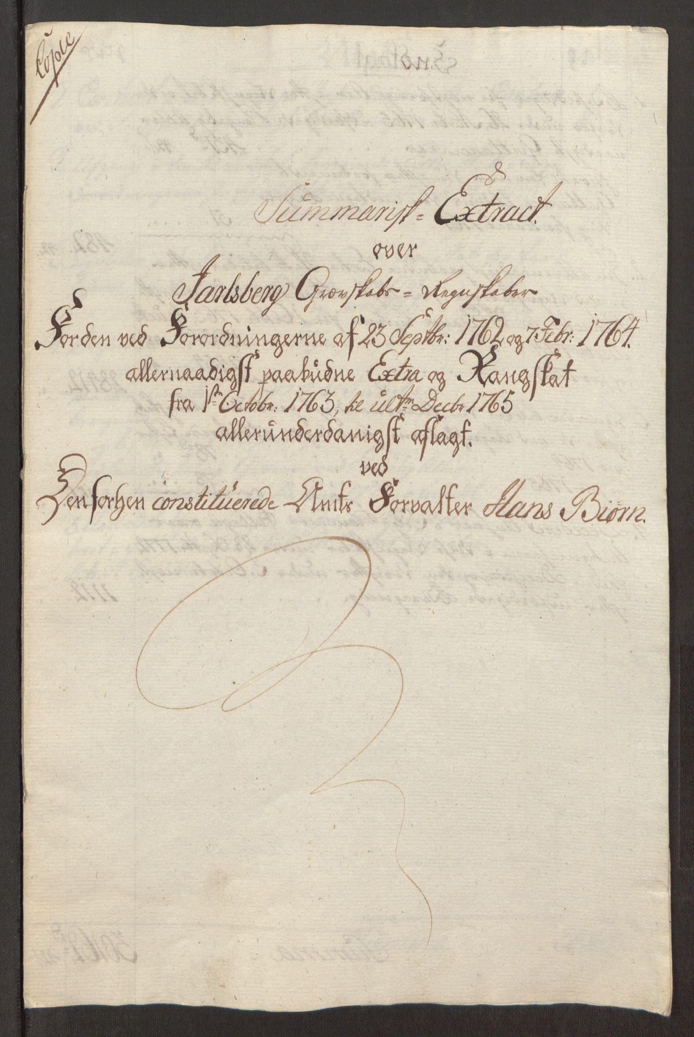 RA, Rentekammeret inntil 1814, Reviderte regnskaper, Fogderegnskap, R32/L1960: Ekstraskatten Jarlsberg grevskap, 1762-1772, s. 86