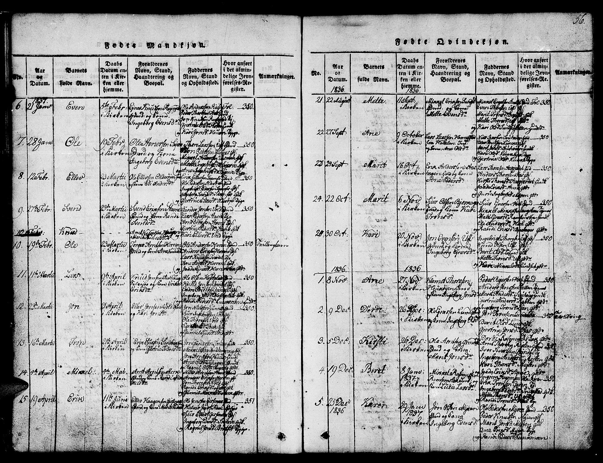 SAT, Ministerialprotokoller, klokkerbøker og fødselsregistre - Sør-Trøndelag, 674/L0874: Klokkerbok nr. 674C01, 1816-1860, s. 56