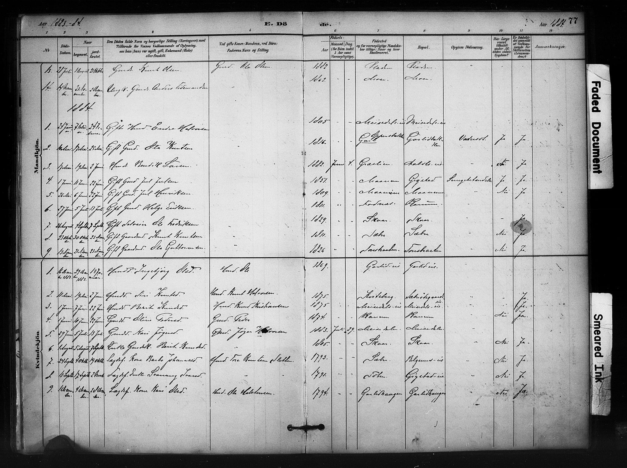 SAH, Nord-Aurdal prestekontor, Ministerialbok nr. 12, 1883-1895, s. 77