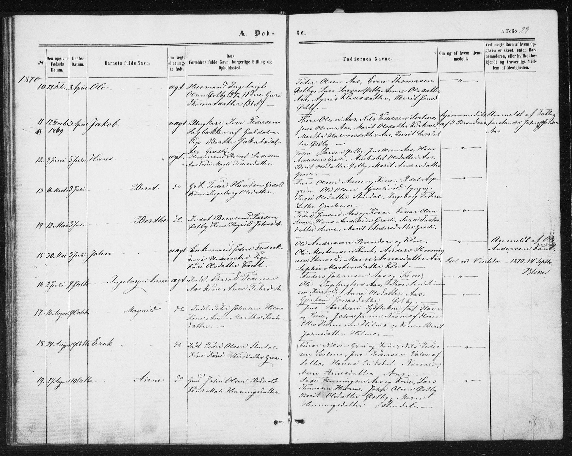 SAT, Ministerialprotokoller, klokkerbøker og fødselsregistre - Sør-Trøndelag, 698/L1166: Klokkerbok nr. 698C03, 1861-1887, s. 29