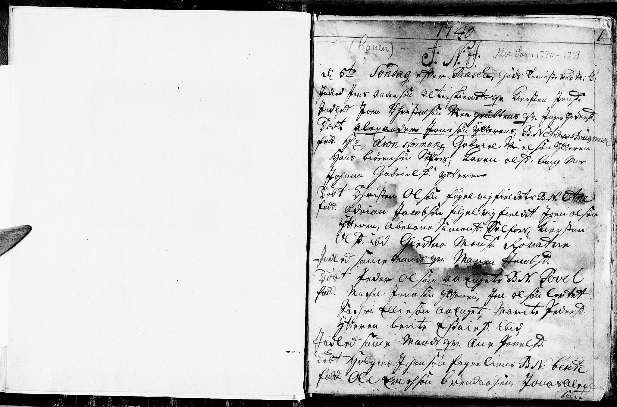 SAT, Ministerialprotokoller, klokkerbøker og fødselsregistre - Nordland, 827/L0389: Ministerialbok nr. 827A01, 1740-1751, s. 0-1