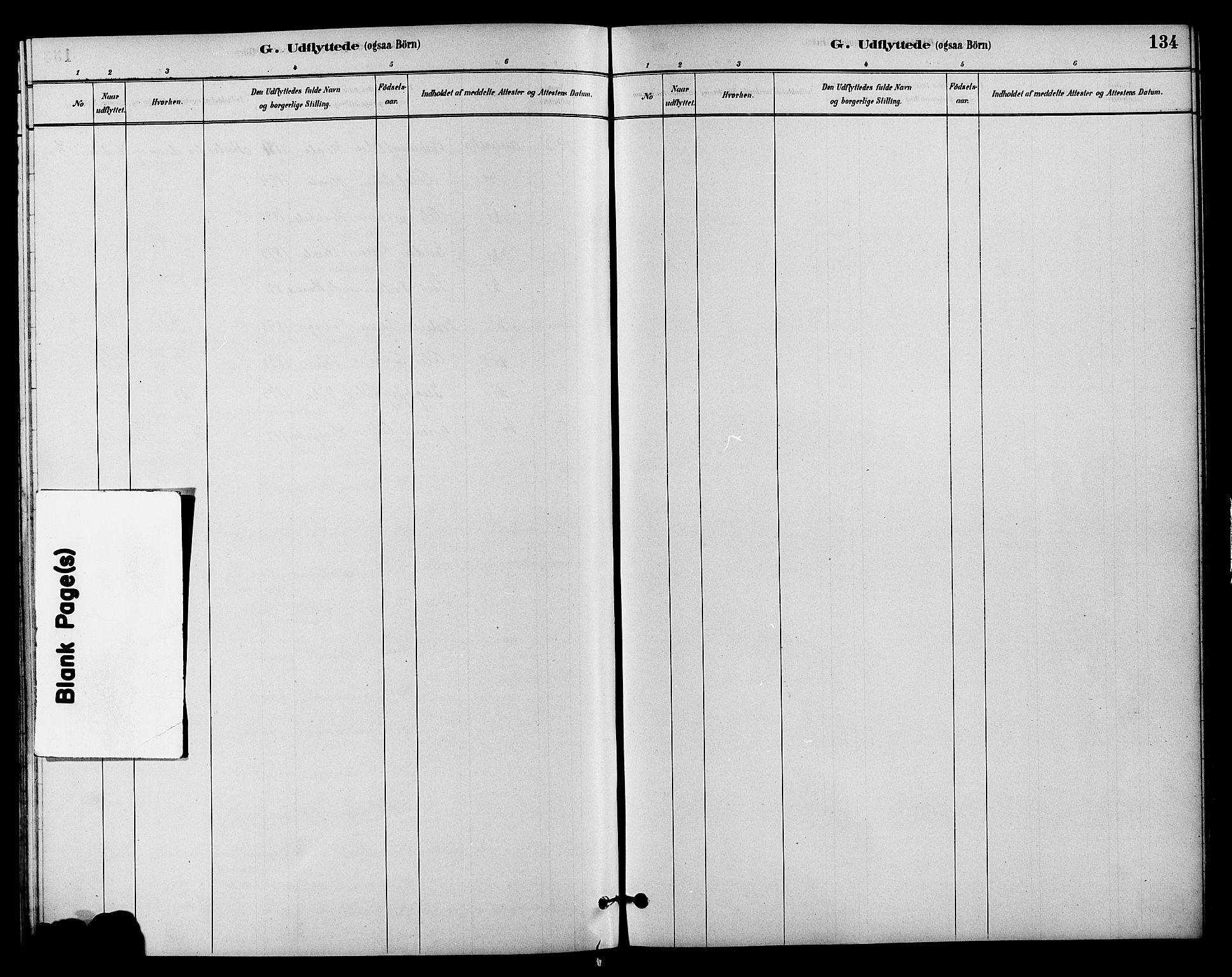 SAH, Vestre Slidre prestekontor, Klokkerbok nr. 4, 1881-1912, s. 134
