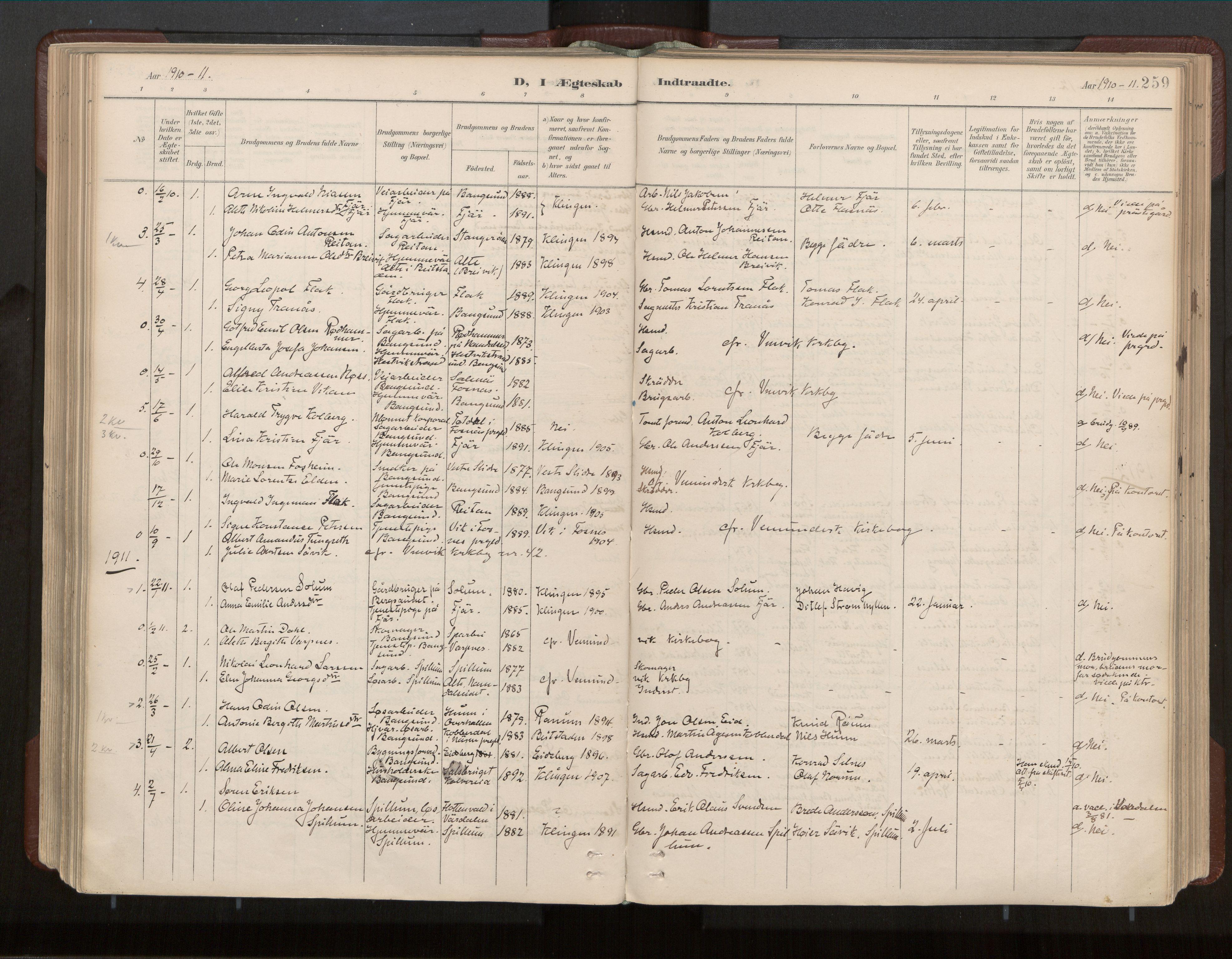 SAT, Ministerialprotokoller, klokkerbøker og fødselsregistre - Nord-Trøndelag, 770/L0589: Ministerialbok nr. 770A03, 1887-1929, s. 259