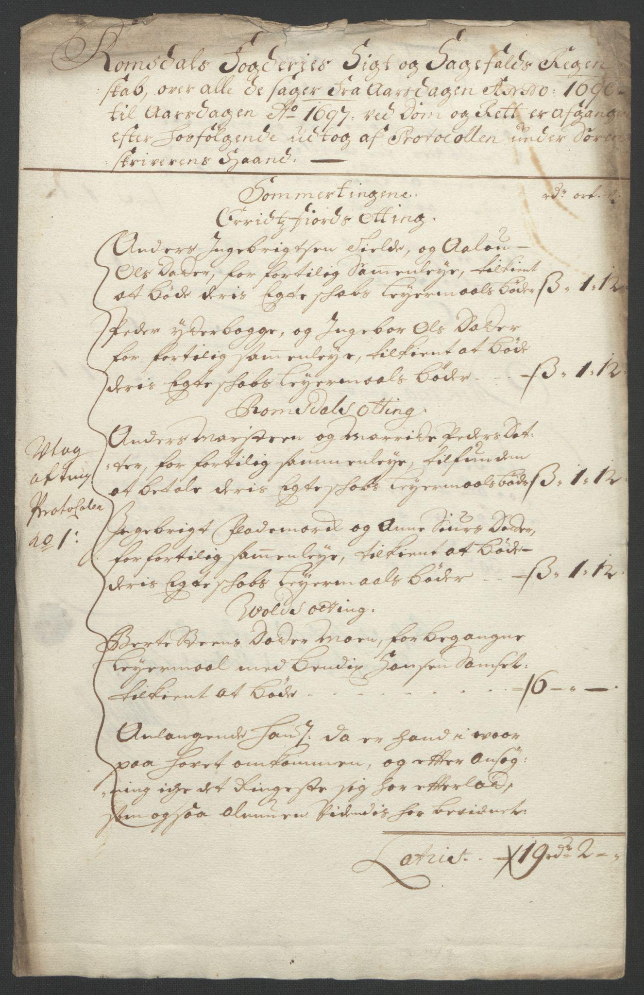 RA, Rentekammeret inntil 1814, Reviderte regnskaper, Fogderegnskap, R55/L3652: Fogderegnskap Romsdal, 1695-1696, s. 251