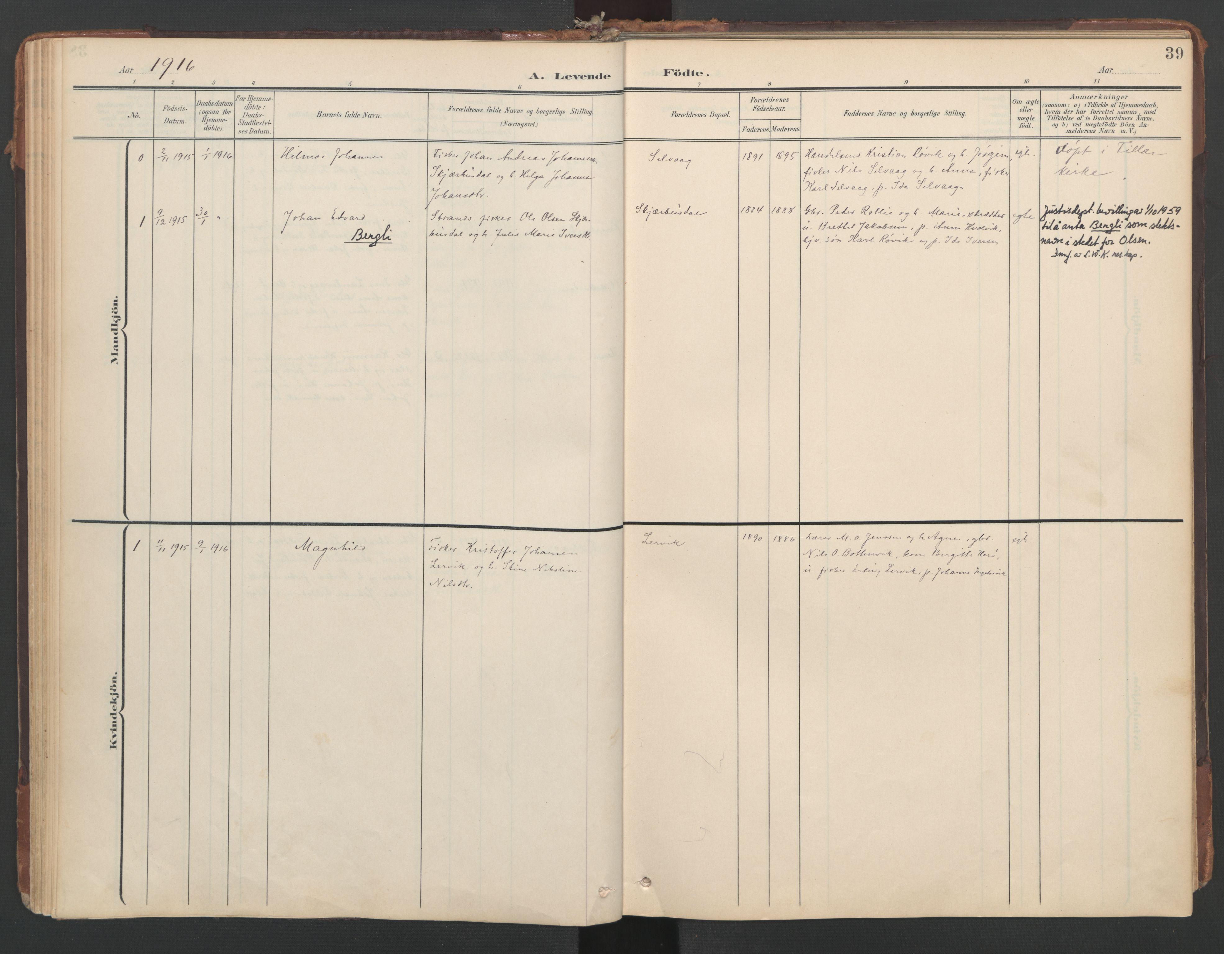 SAT, Ministerialprotokoller, klokkerbøker og fødselsregistre - Sør-Trøndelag, 638/L0568: Ministerialbok nr. 638A01, 1901-1916, s. 39