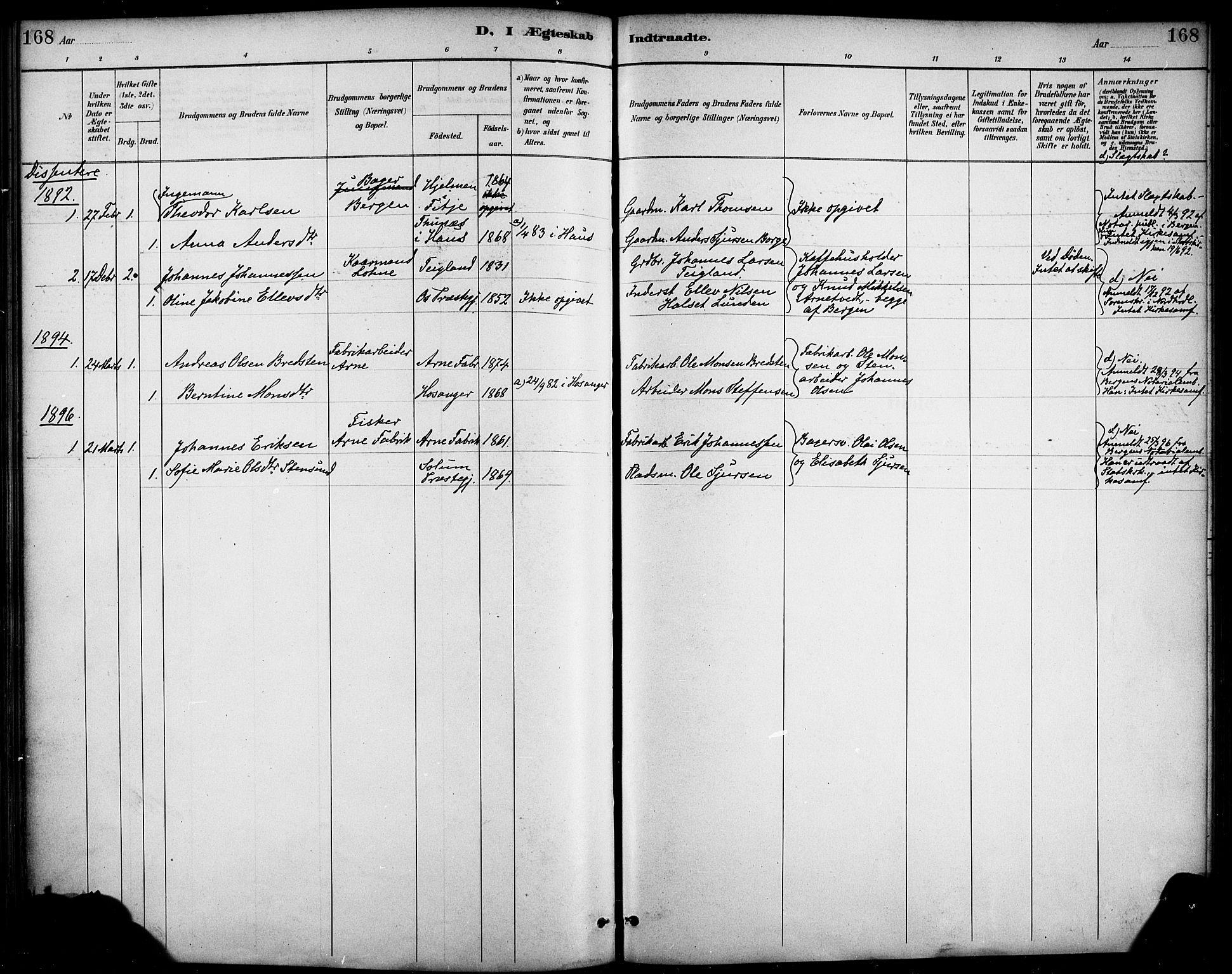 SAB, Haus sokneprestembete, H/Haa: Ministerialbok nr. D 1, 1887-1898, s. 168