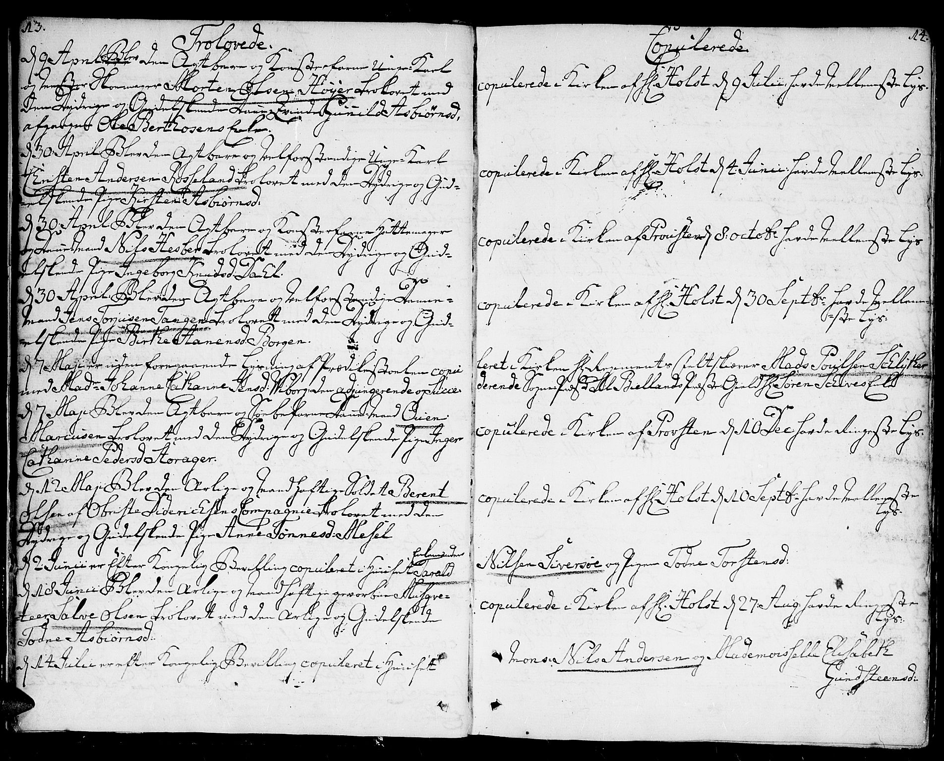 SAK, Kristiansand domprosti, F/Fa/L0005: Ministerialbok nr. A 5, 1776-1818, s. 13-14