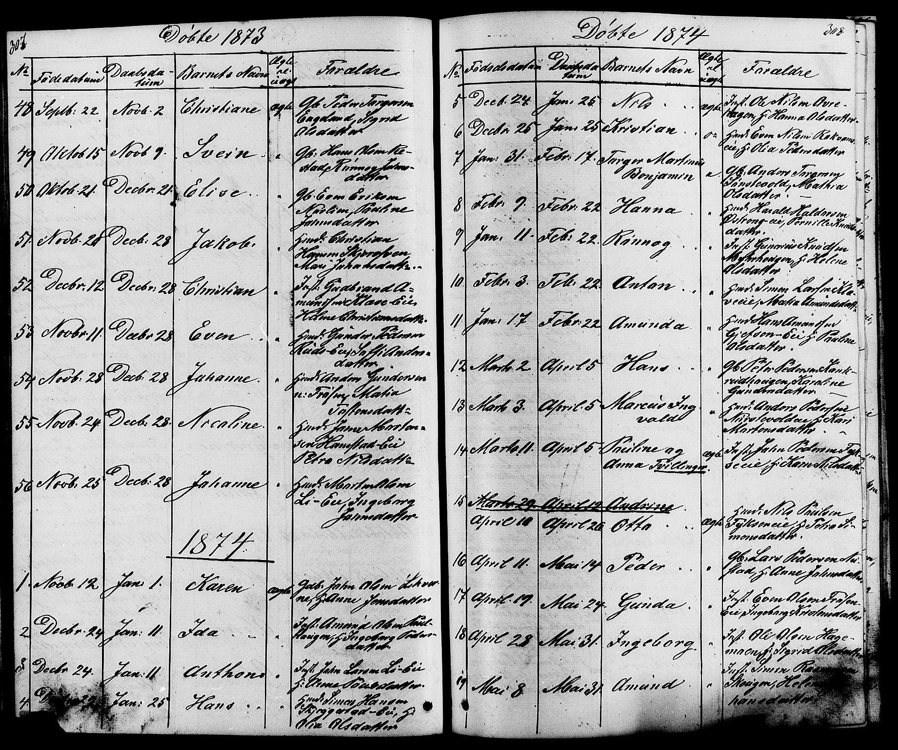 SAH, Østre Gausdal prestekontor, Klokkerbok nr. 1, 1863-1893, s. 307-308