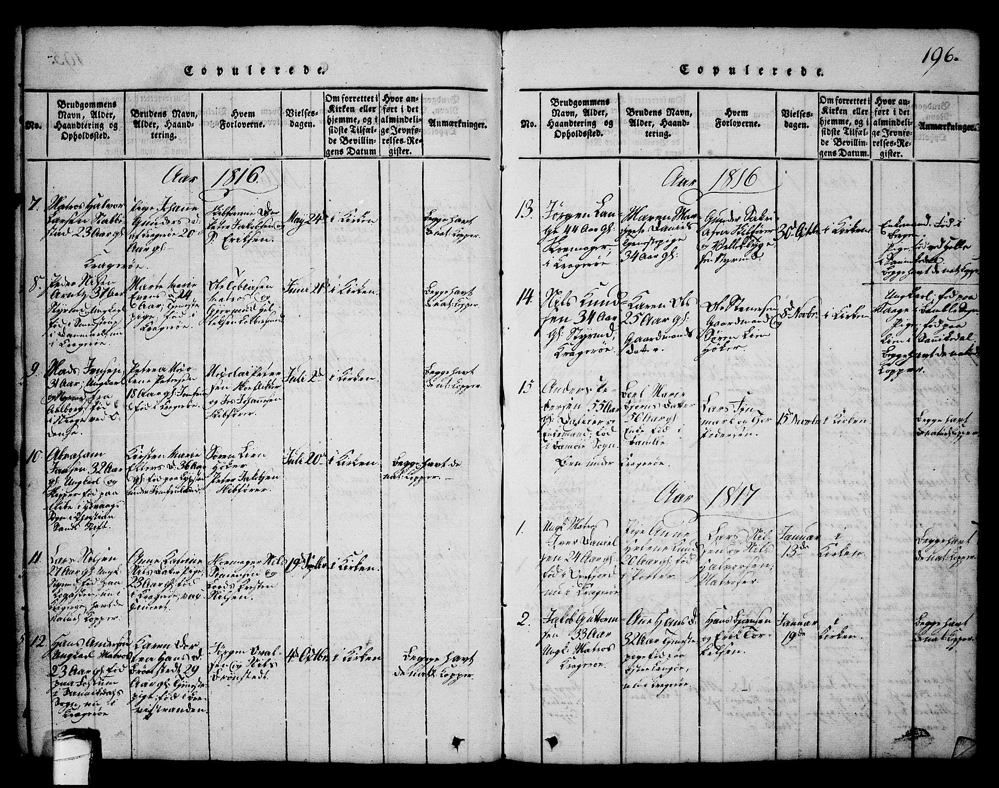 SAKO, Kragerø kirkebøker, G/Ga/L0002: Klokkerbok nr. 2, 1814-1831, s. 196
