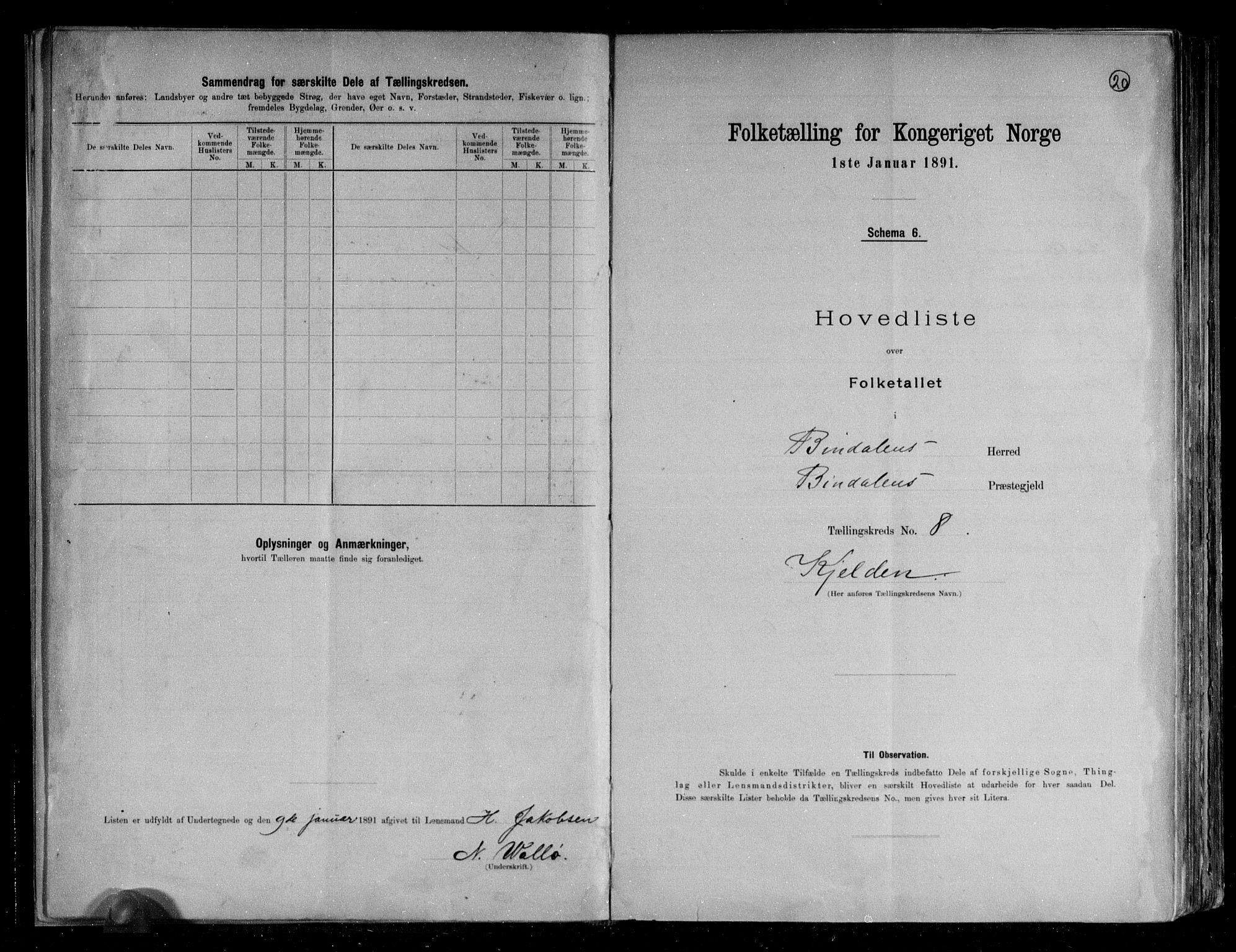 RA, Folketelling 1891 for 1811 Bindal herred, 1891, s. 21