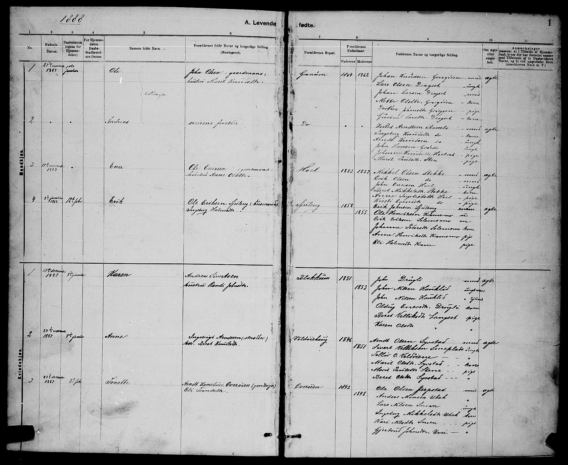 SAT, Ministerialprotokoller, klokkerbøker og fødselsregistre - Sør-Trøndelag, 672/L0863: Klokkerbok nr. 672C02, 1888-1901, s. 1