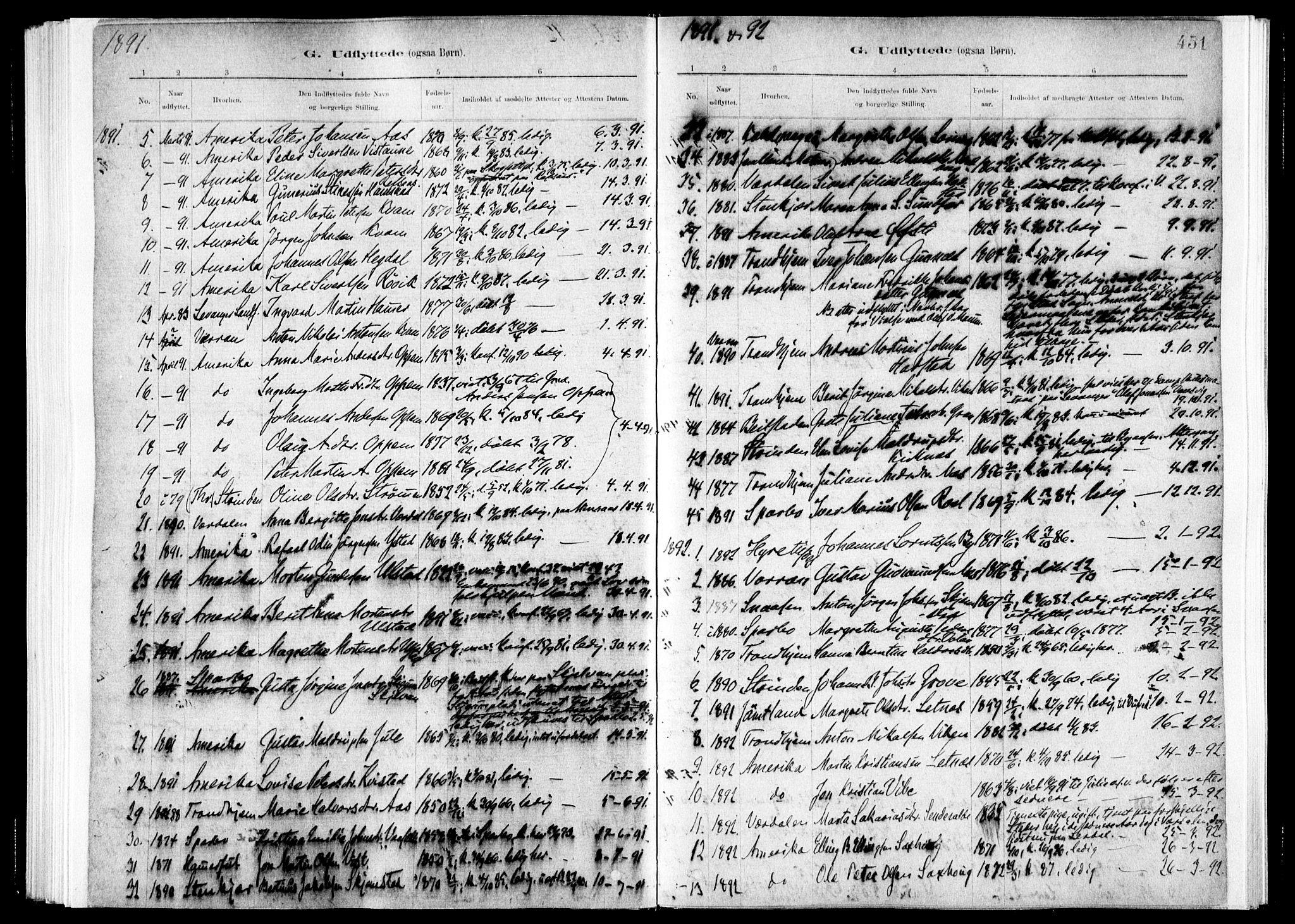 SAT, Ministerialprotokoller, klokkerbøker og fødselsregistre - Nord-Trøndelag, 730/L0285: Ministerialbok nr. 730A10, 1879-1914, s. 451