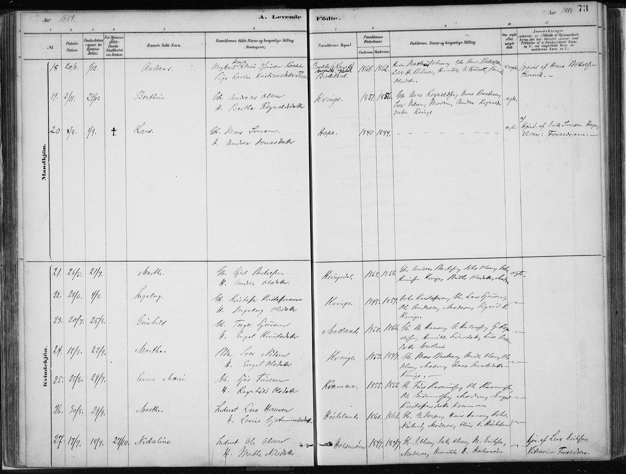 SAB, Masfjorden Soknepresembete, Ministerialbok nr. B  1, 1876-1899, s. 73