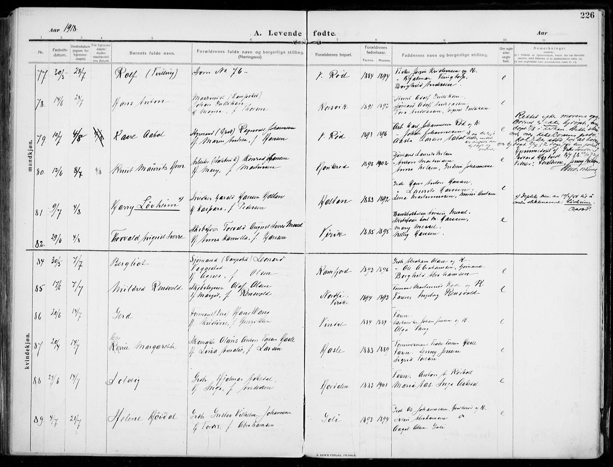 SAKO, Sandar kirkebøker, F/Fa/L0016: Ministerialbok nr. 16, 1909-1919, s. 226