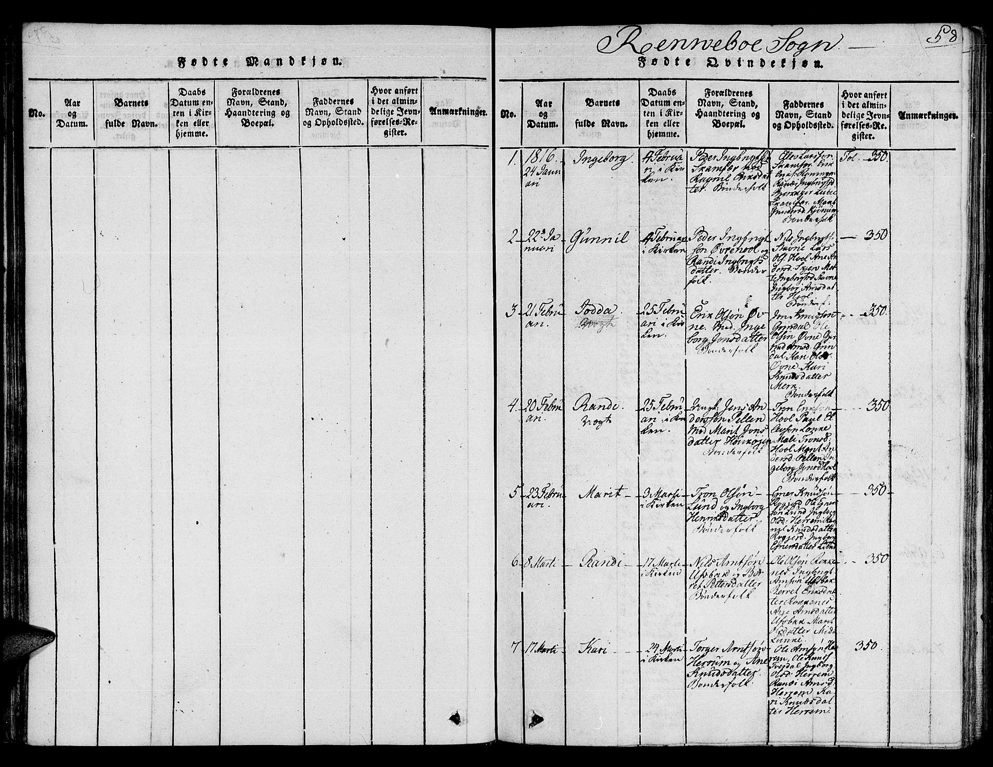 SAT, Ministerialprotokoller, klokkerbøker og fødselsregistre - Sør-Trøndelag, 672/L0854: Ministerialbok nr. 672A06 /2, 1816-1829, s. 58