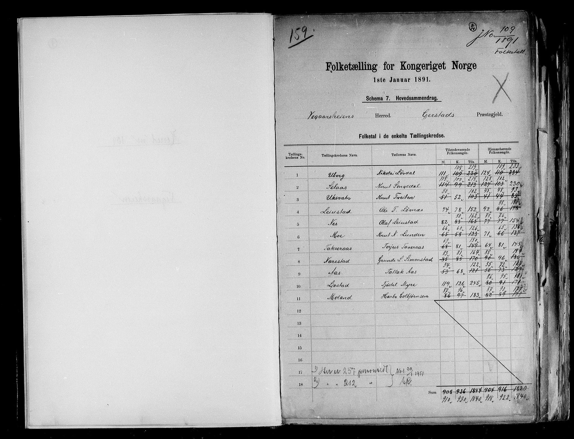 RA, Folketelling 1891 for 0912 Vegårshei herred, 1891, s. 2