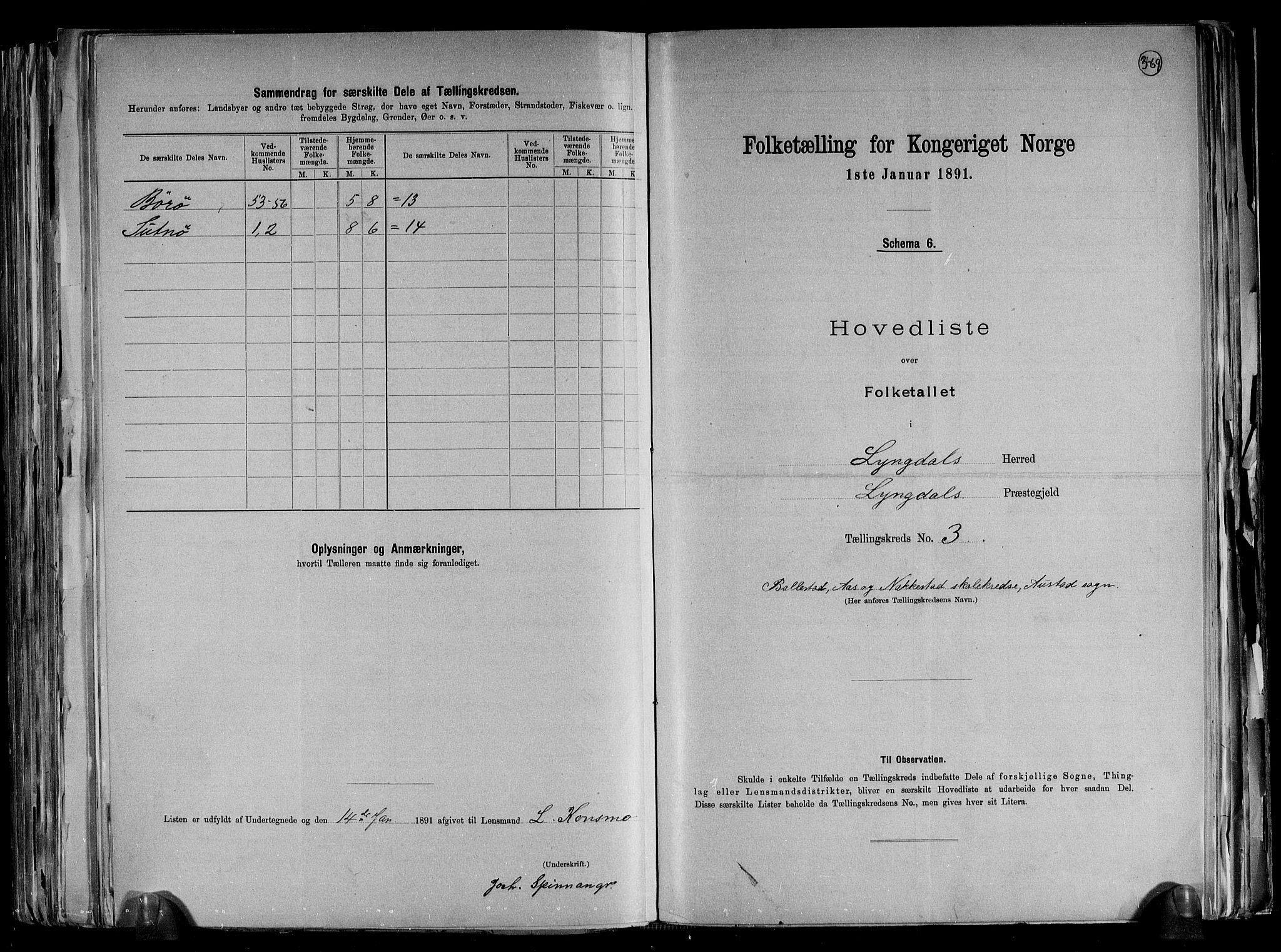 RA, Folketelling 1891 for 1032 Lyngdal herred, 1891, s. 11