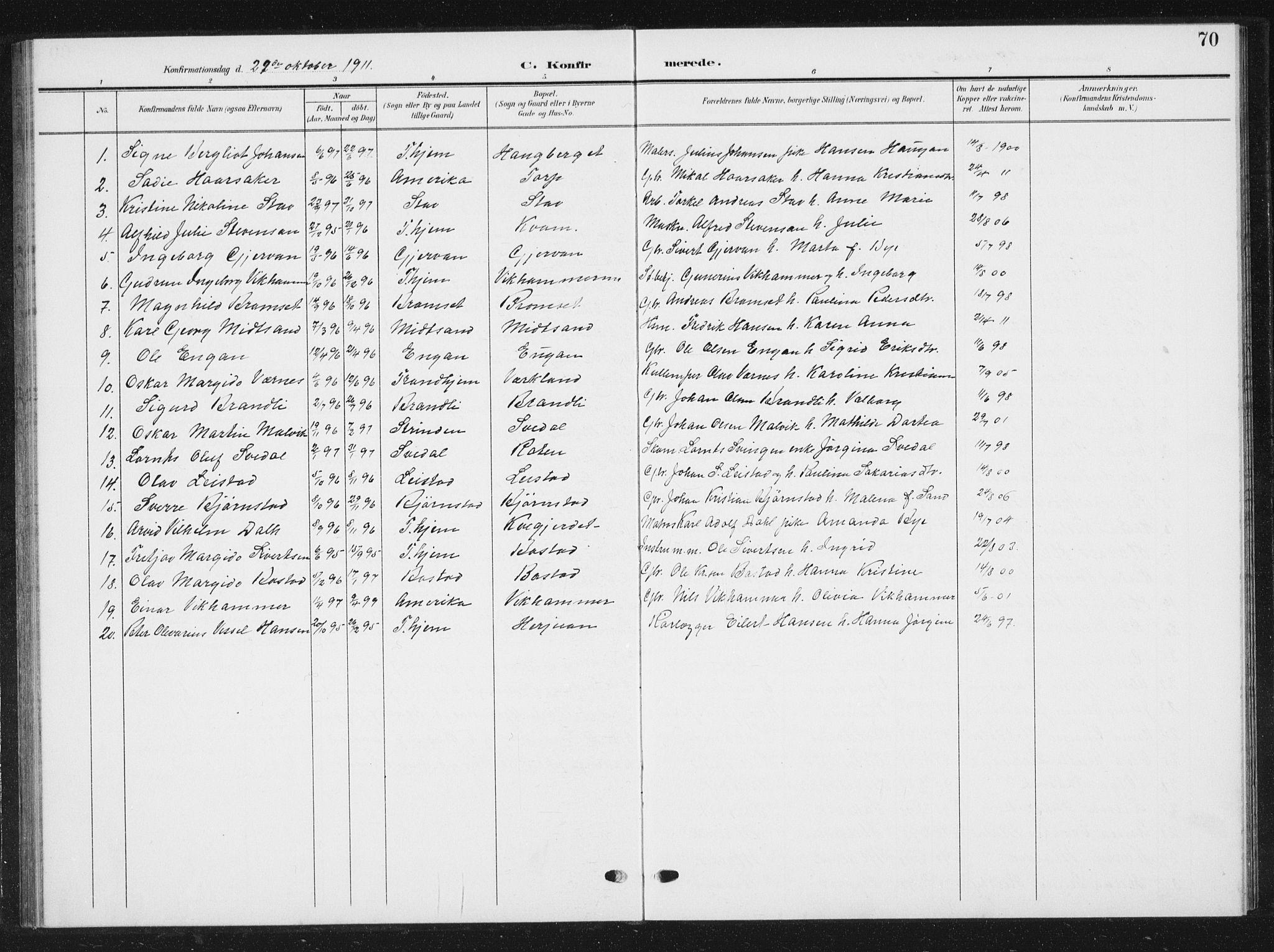 SAT, Ministerialprotokoller, klokkerbøker og fødselsregistre - Sør-Trøndelag, 616/L0424: Klokkerbok nr. 616C07, 1904-1940, s. 70