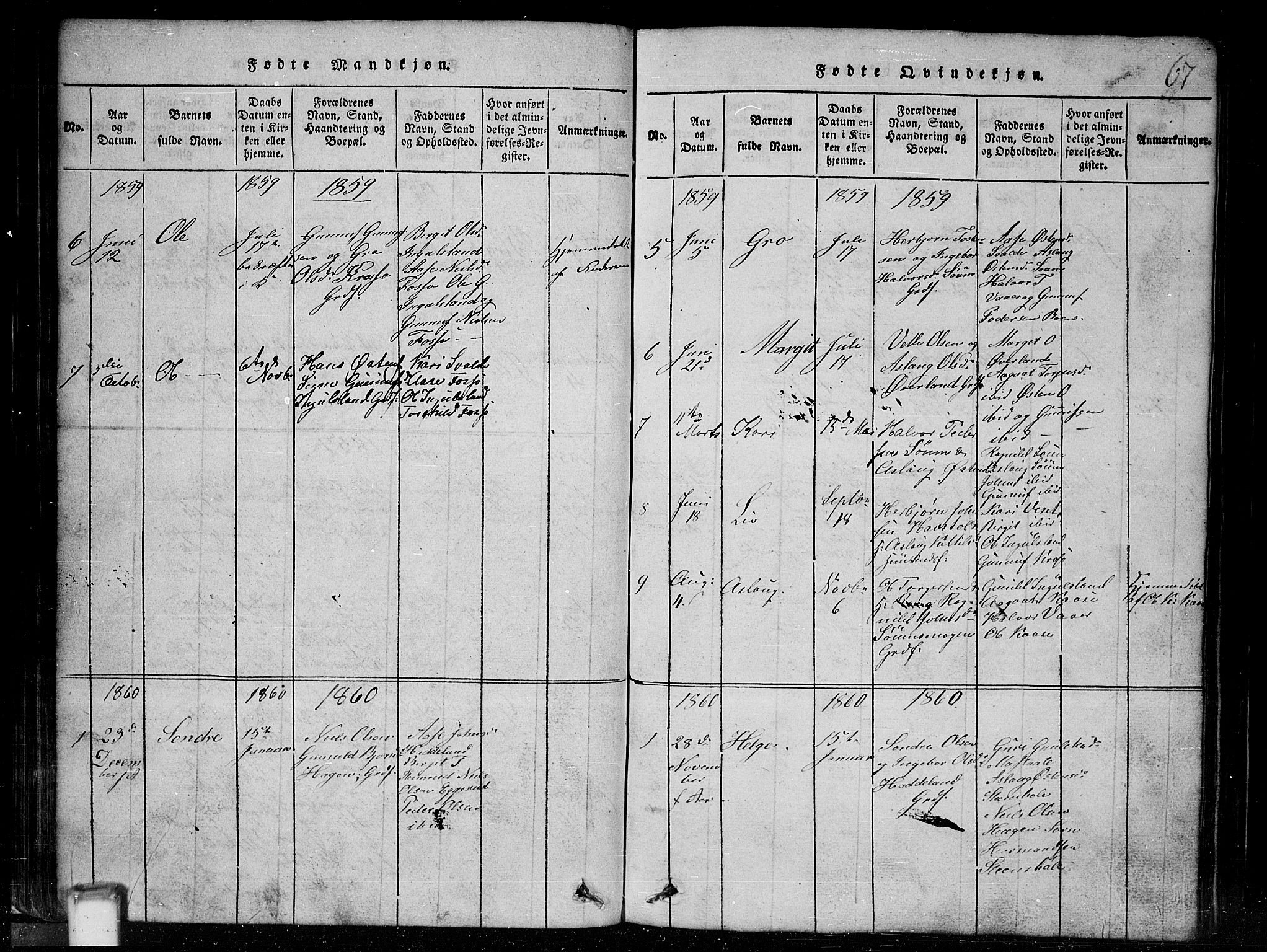 SAKO, Tinn kirkebøker, G/Gc/L0001: Klokkerbok nr. III 1, 1815-1879, s. 67