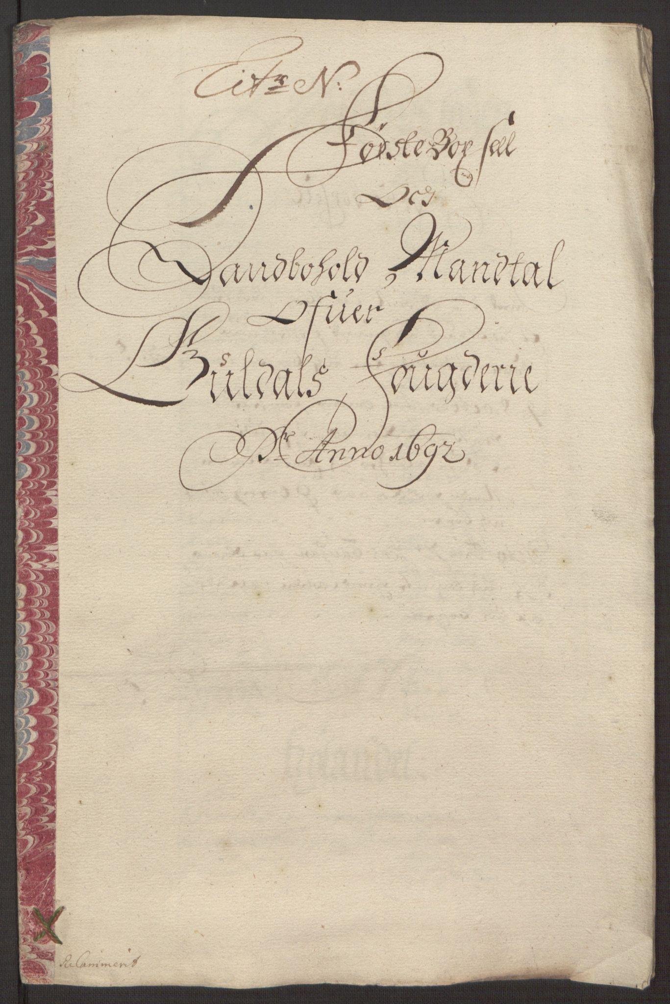RA, Rentekammeret inntil 1814, Reviderte regnskaper, Fogderegnskap, R59/L3942: Fogderegnskap Gauldal, 1692, s. 177