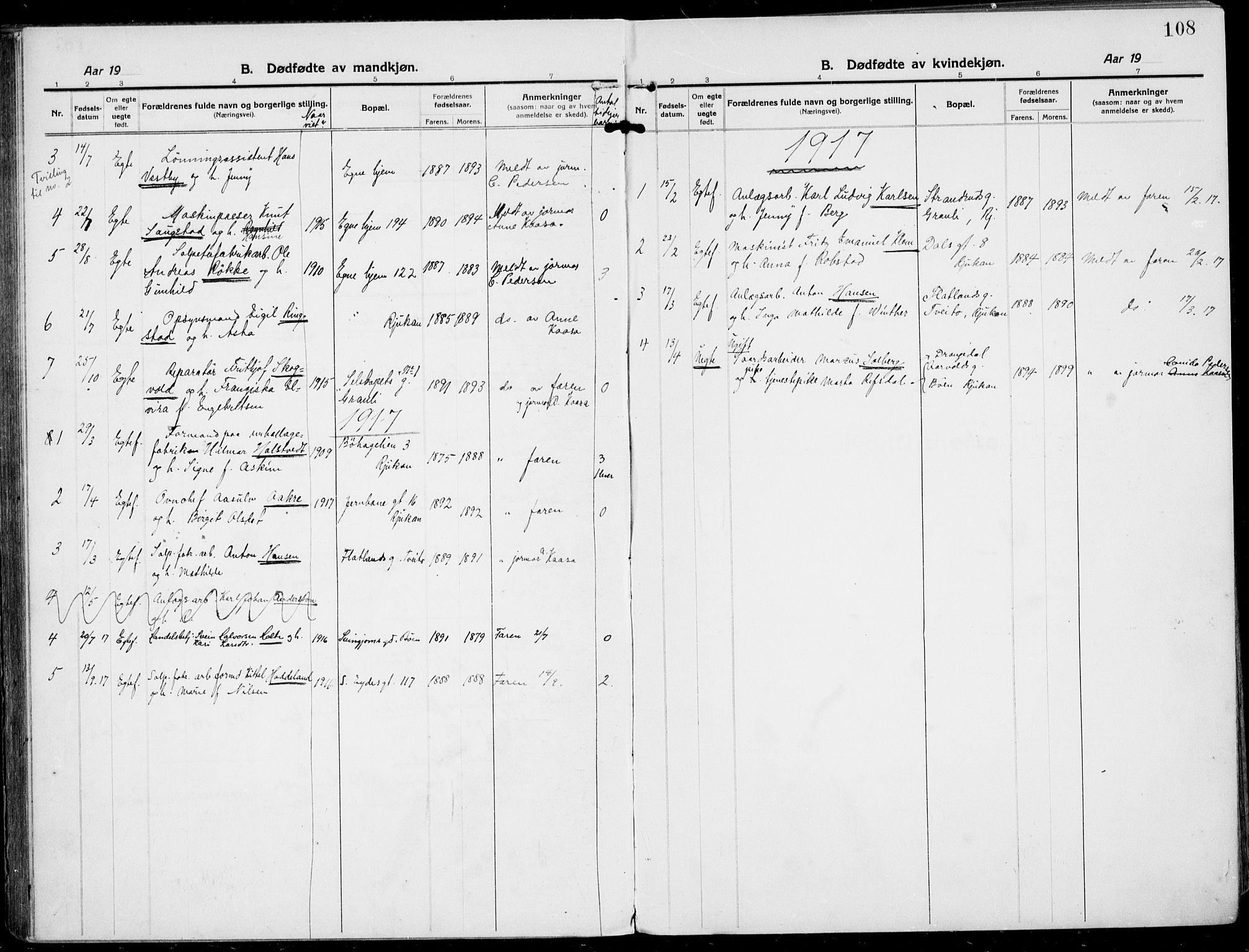 SAKO, Rjukan kirkebøker, F/Fa/L0002: Ministerialbok nr. 2, 1912-1917, s. 108