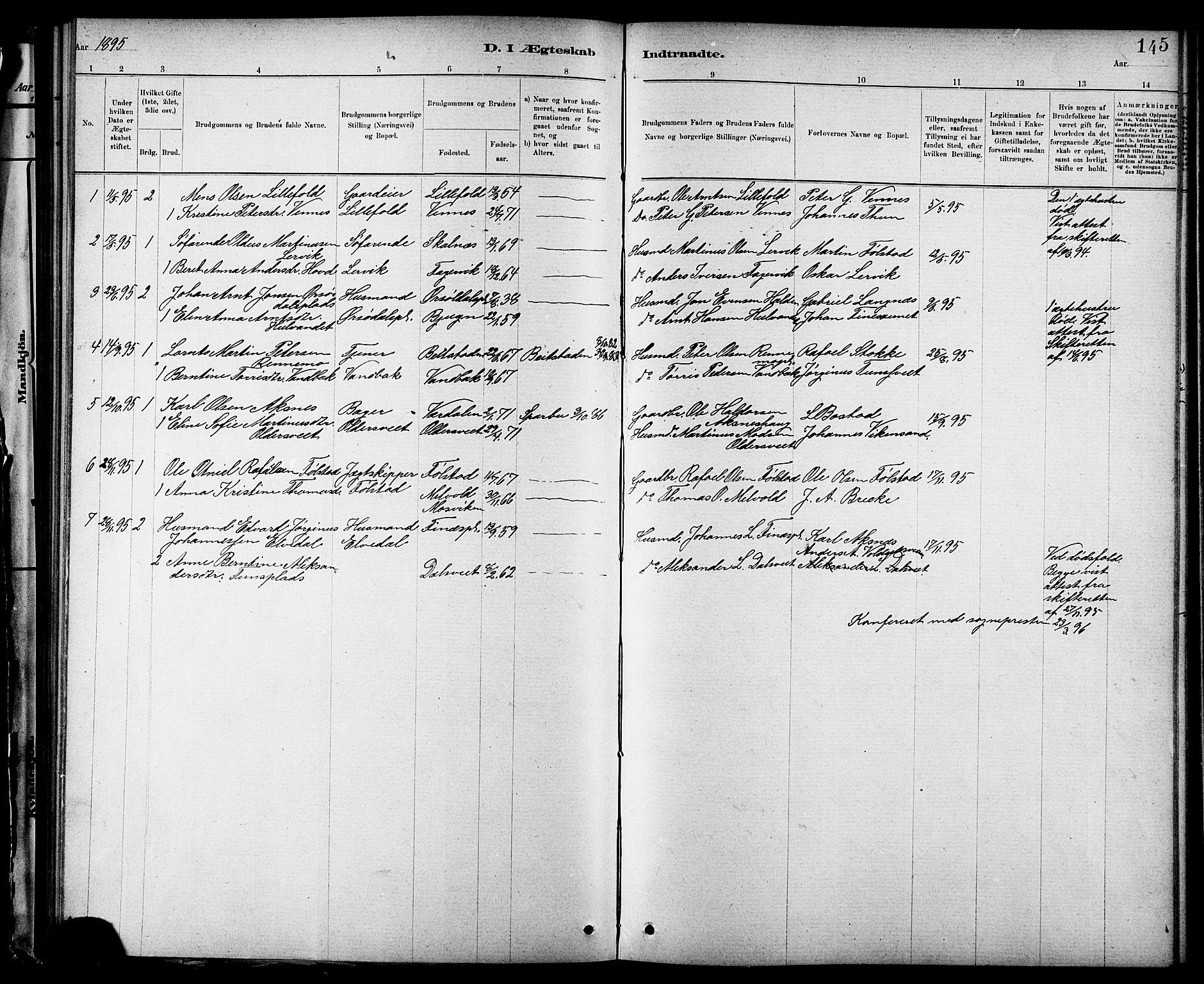 SAT, Ministerialprotokoller, klokkerbøker og fødselsregistre - Nord-Trøndelag, 744/L0423: Klokkerbok nr. 744C02, 1886-1905, s. 145