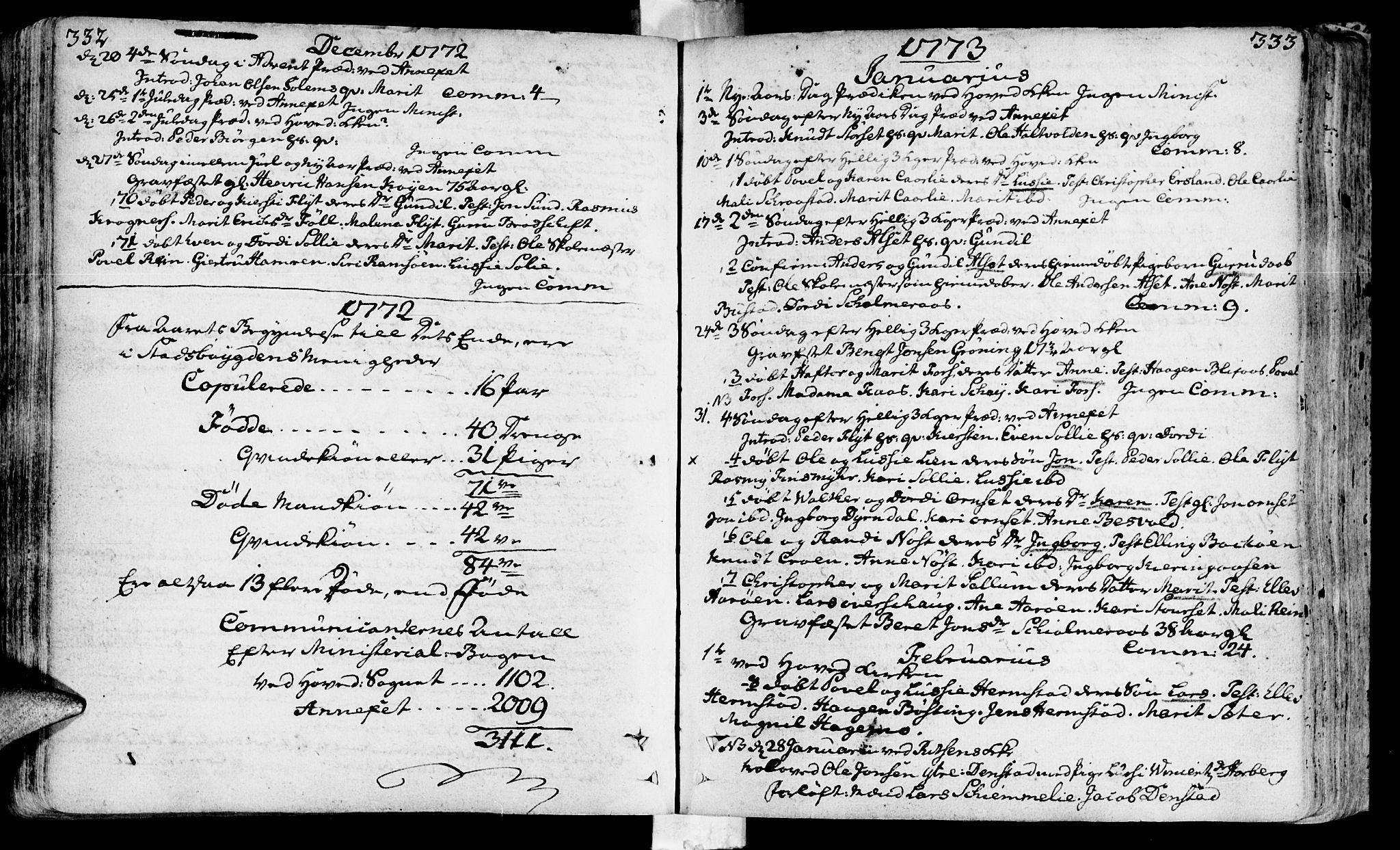SAT, Ministerialprotokoller, klokkerbøker og fødselsregistre - Sør-Trøndelag, 646/L0605: Ministerialbok nr. 646A03, 1751-1790, s. 332-333