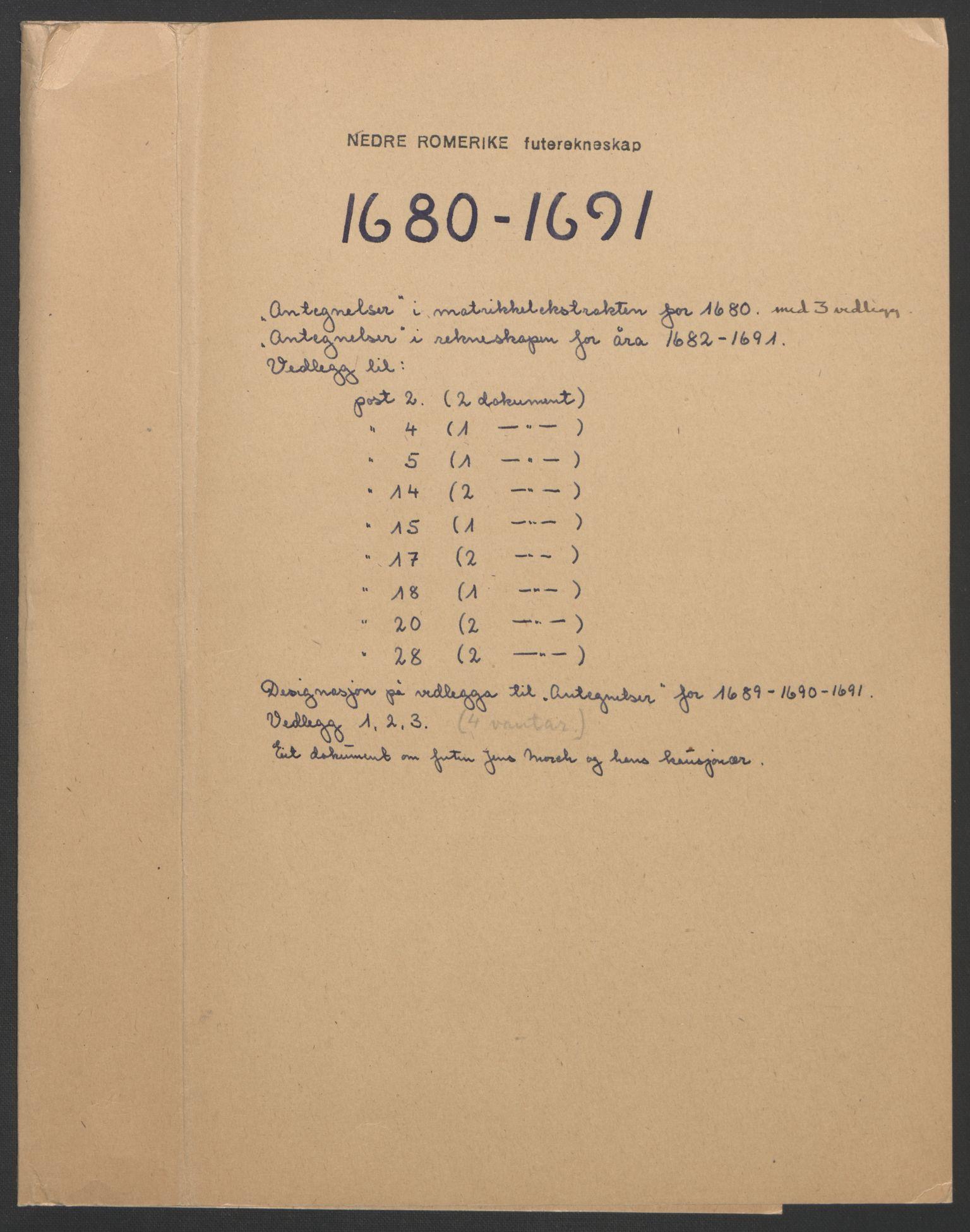 RA, Rentekammeret inntil 1814, Reviderte regnskaper, Fogderegnskap, R11/L0576: Fogderegnskap Nedre Romerike, 1682-1691, s. 35