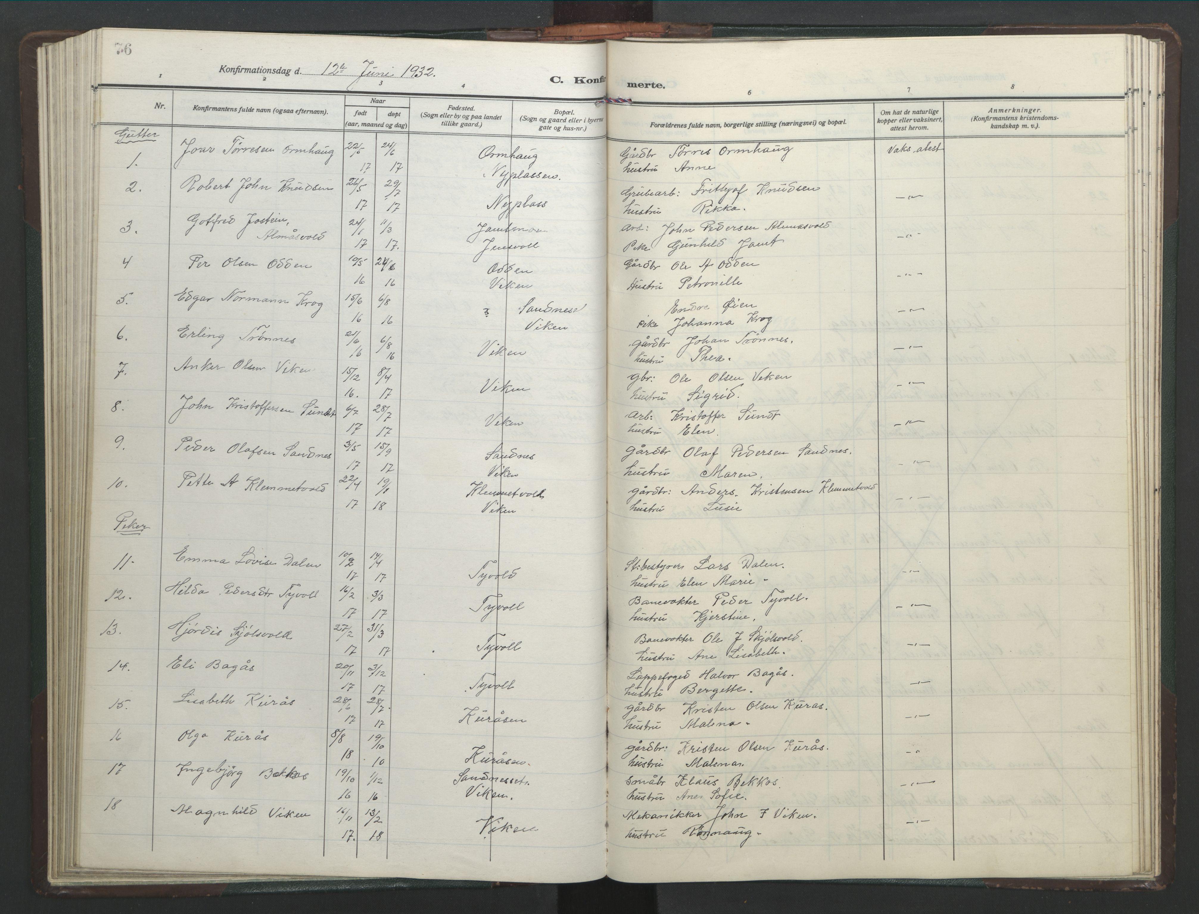 SAT, Ministerialprotokoller, klokkerbøker og fødselsregistre - Sør-Trøndelag, 682/L0947: Klokkerbok nr. 682C01, 1926-1968, s. 76