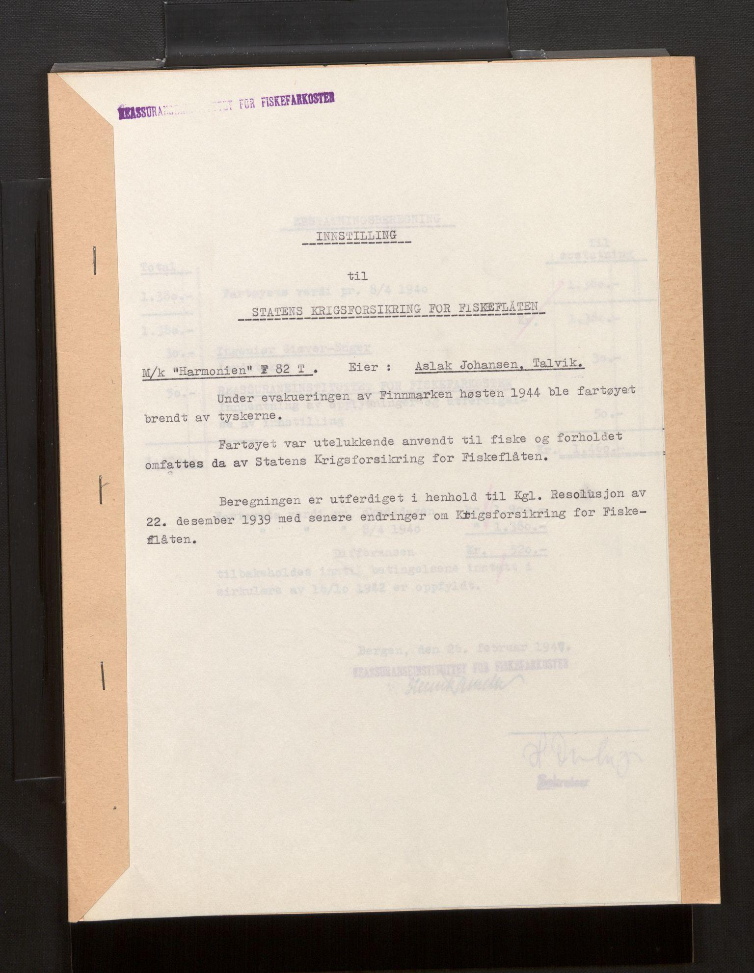 SAB, Fiskeridirektoratet - 1 Adm. ledelse - 13 Båtkontoret, La/L0042: Statens krigsforsikring for fiskeflåten, 1936-1971, s. 273