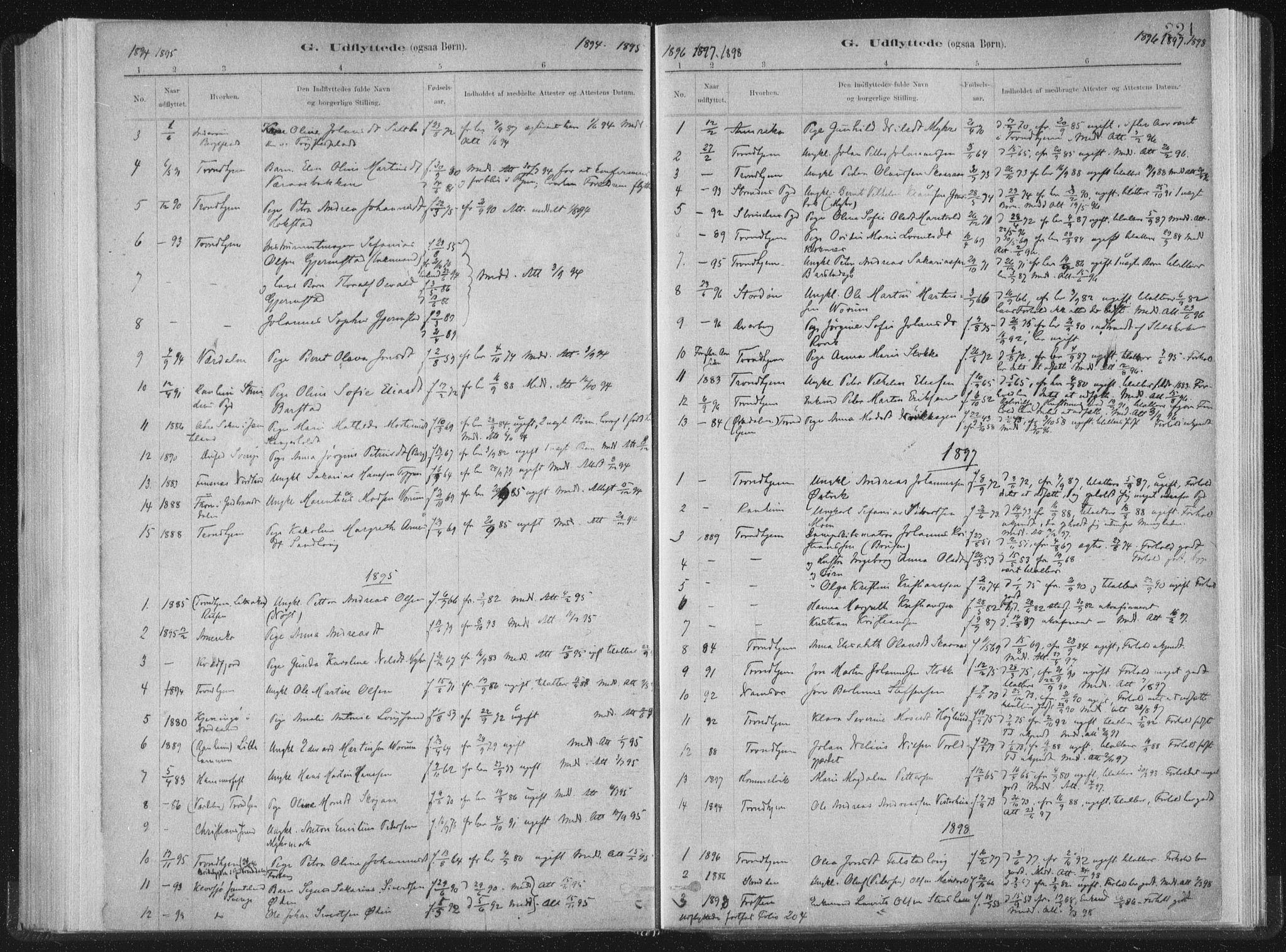 SAT, Ministerialprotokoller, klokkerbøker og fødselsregistre - Nord-Trøndelag, 722/L0220: Ministerialbok nr. 722A07, 1881-1908, s. 221