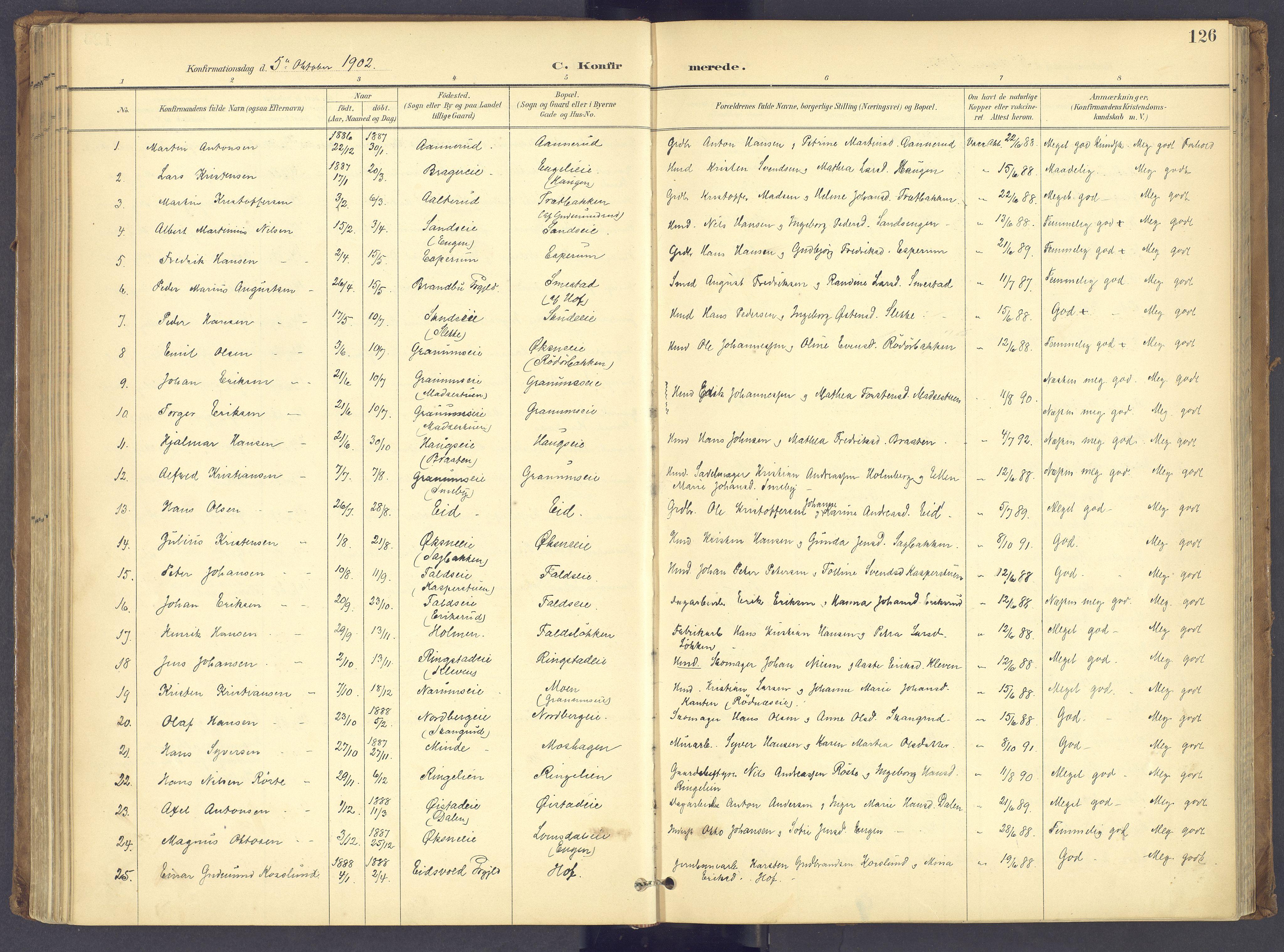 SAH, Søndre Land prestekontor, K/L0006: Ministerialbok nr. 6, 1895-1904, s. 126